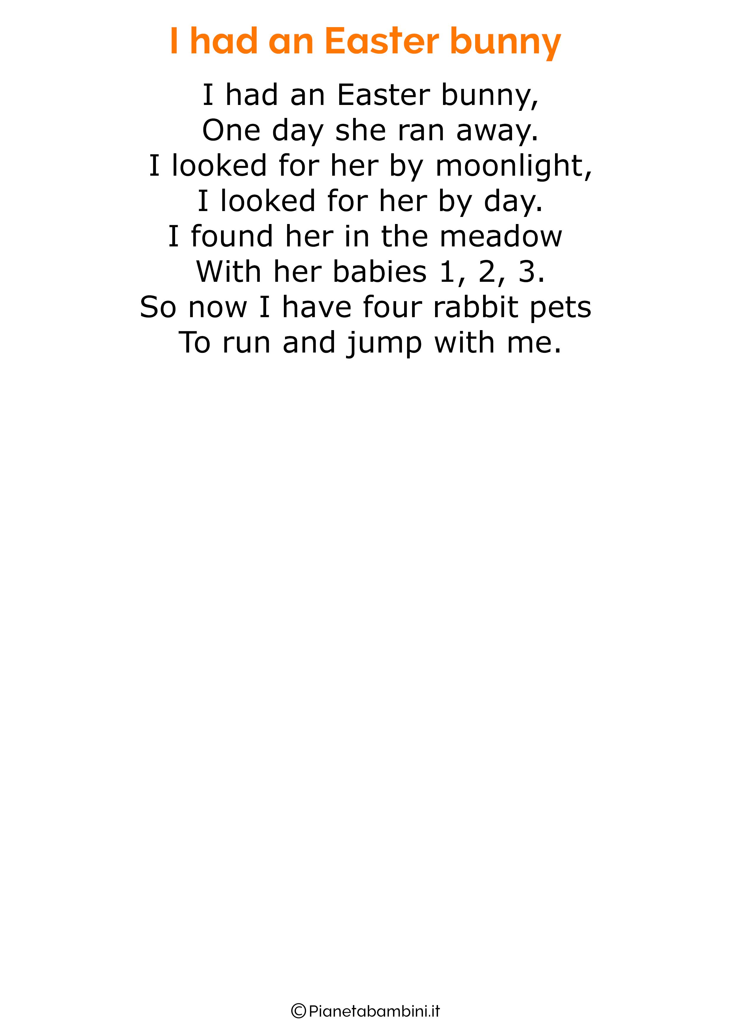 Poesie di Pasqua in inglese per bambini 18