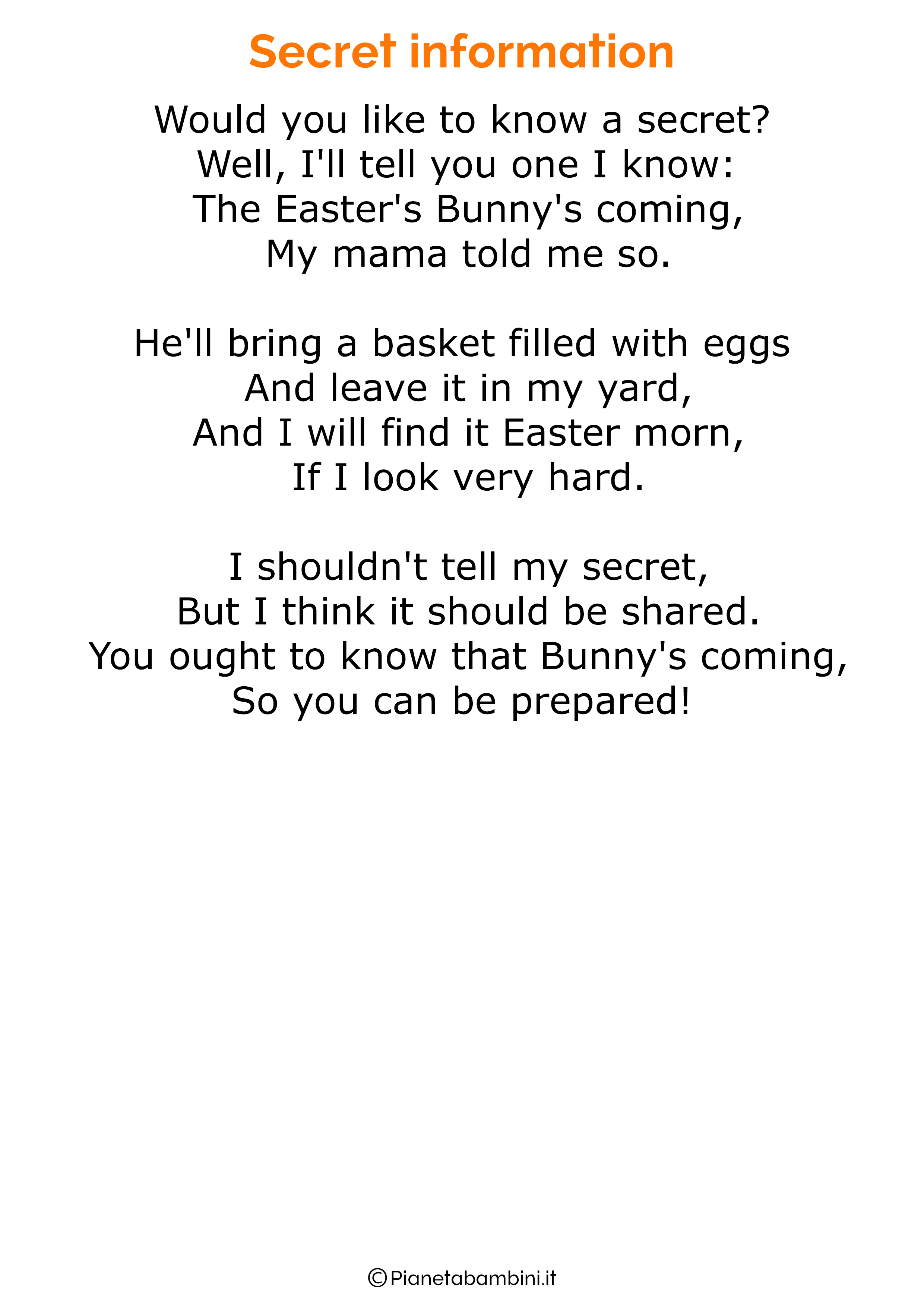 Poesie di Pasqua in inglese per bambini 23