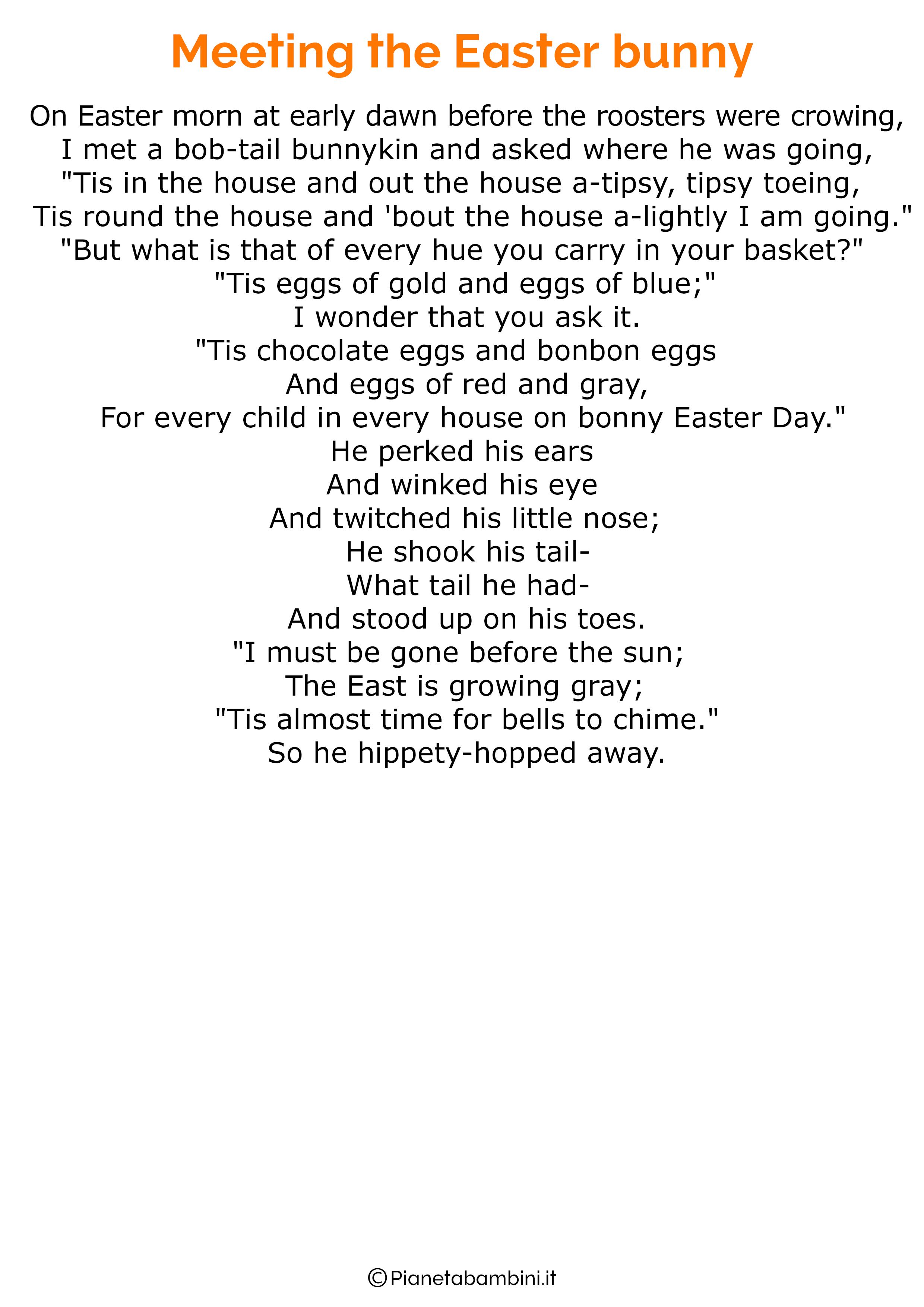 Poesie di Pasqua in inglese per bambini 25