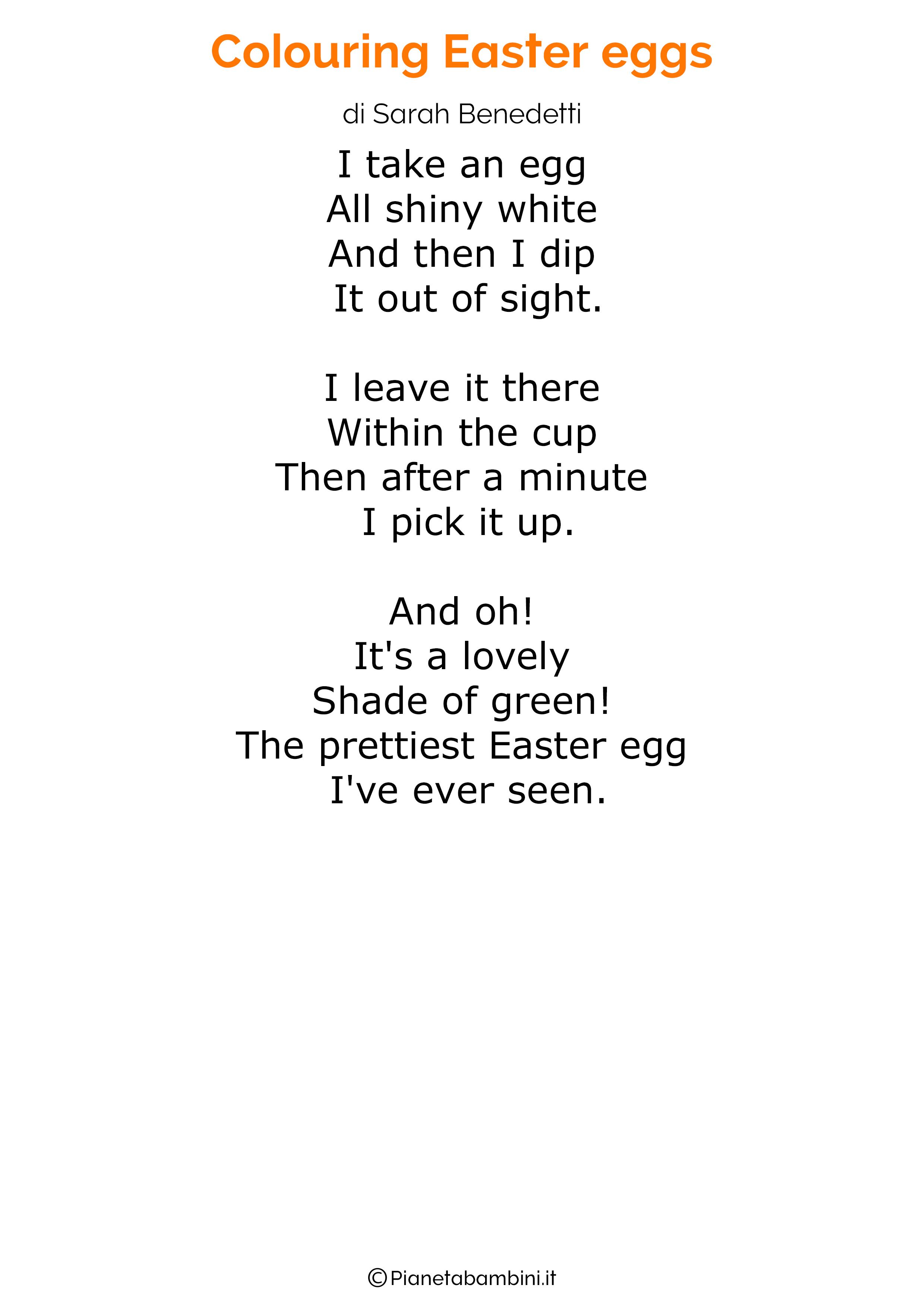 Poesie di Pasqua in inglese per bambini 26