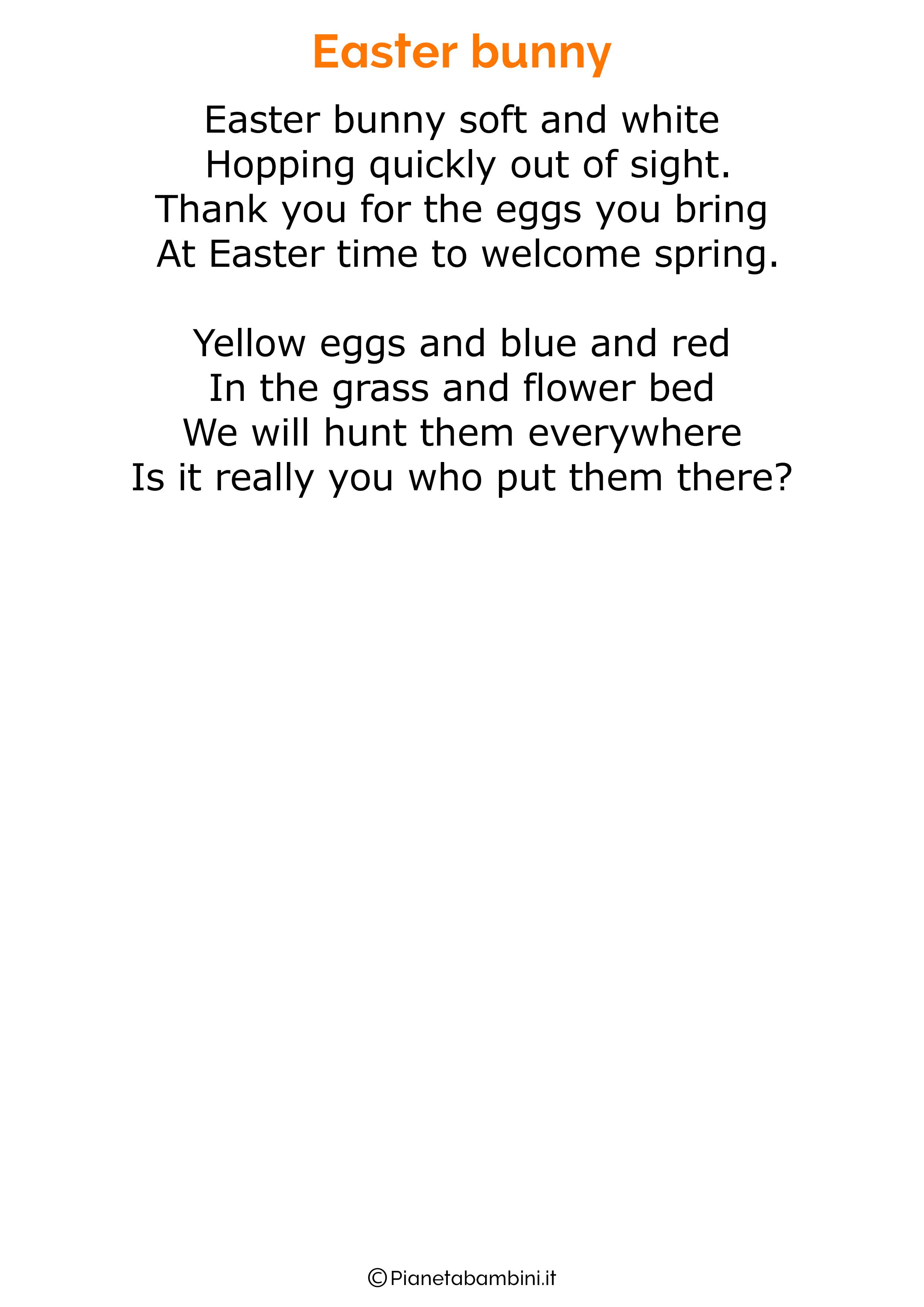 Poesie di Pasqua in inglese per bambini 29