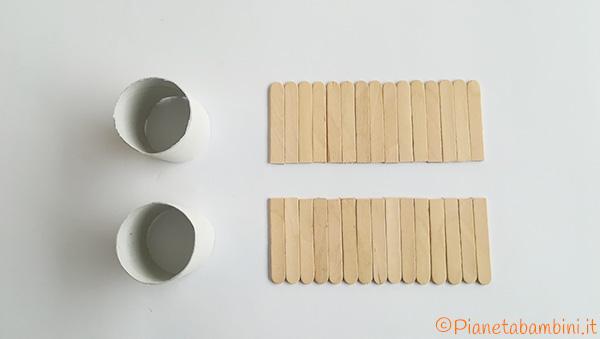 Rotolo e bastoncini tagliati per creare il cestino di Pasqua fai da te