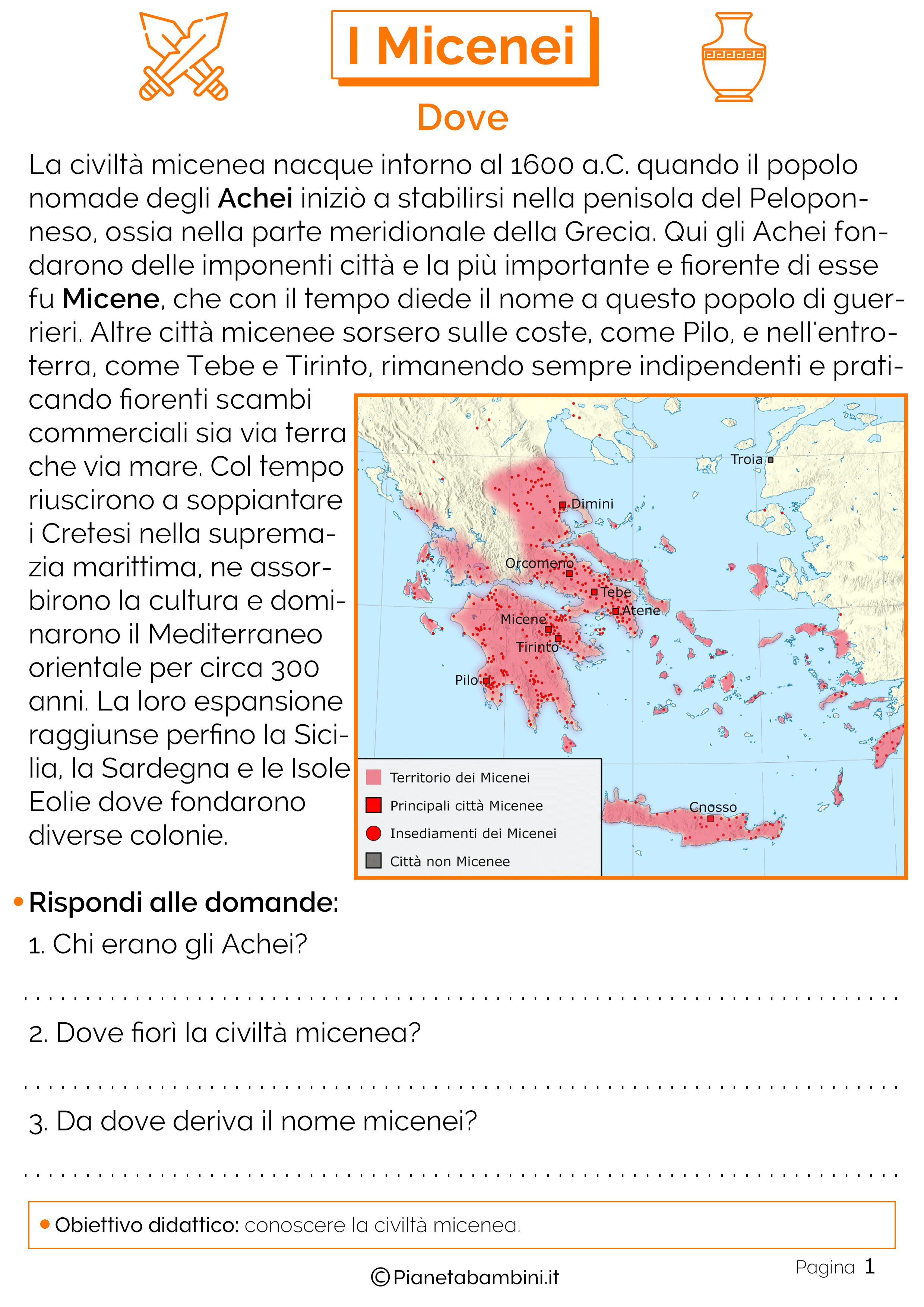 Mappa della civiltà micenea