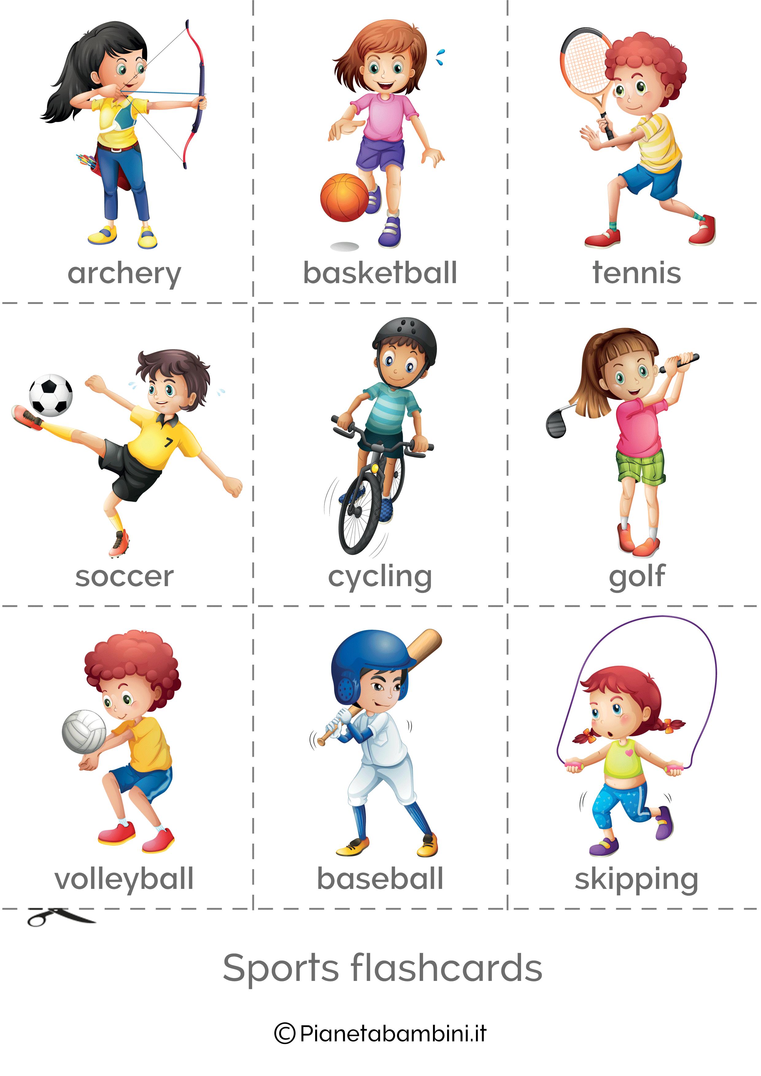 Flashcard sugli sport inglese da stampare 1
