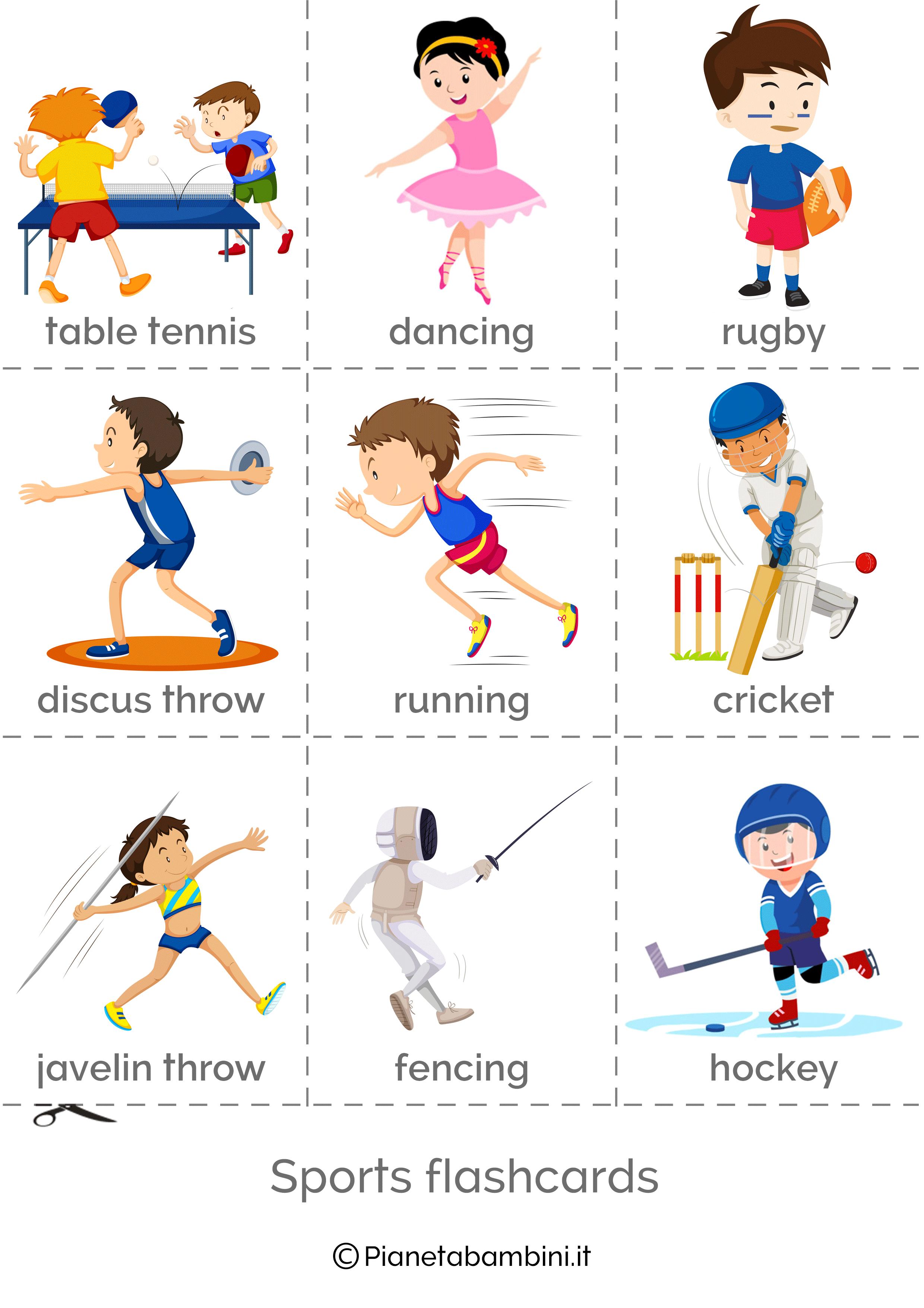 Flashcard sugli sport inglese da stampare 3