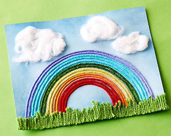 Come creare un arcobaleno con fili di lana come lavoretto di primavera