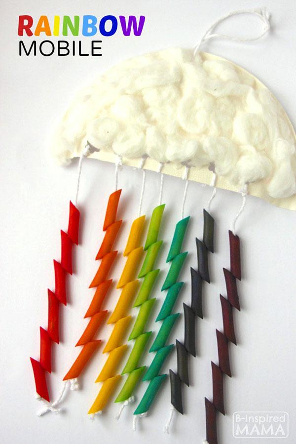 Come creare un arcobaleno con pasta alimentare come lavoretto di primavera