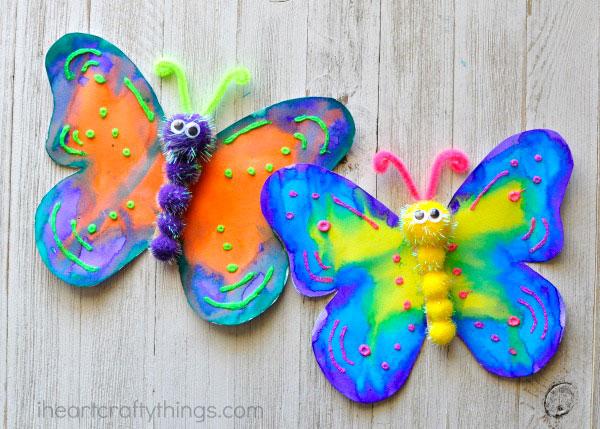Come creare delle farfalle con pon pon come lavoretto di primavera