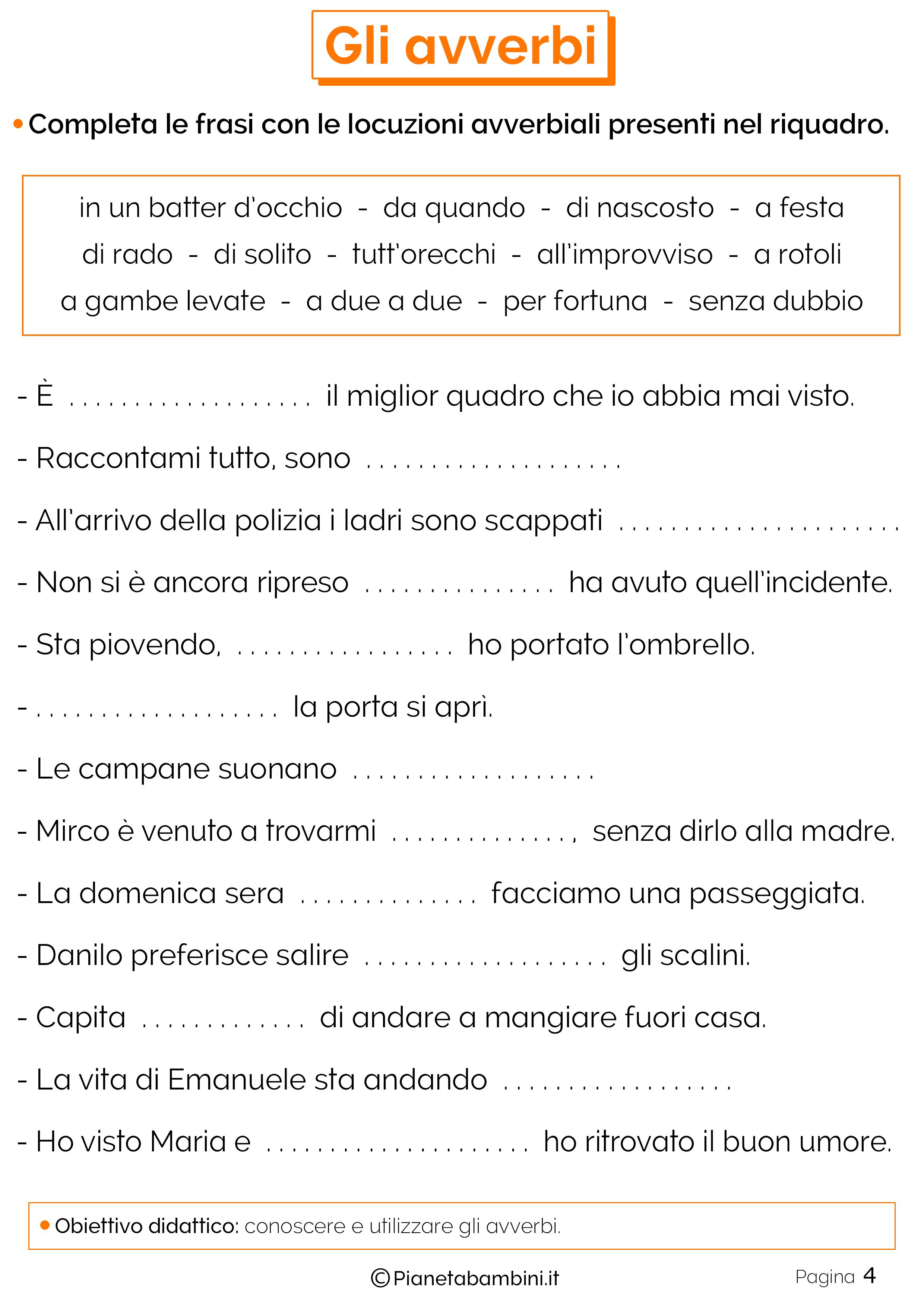 Esercizi sugli avverbi 4