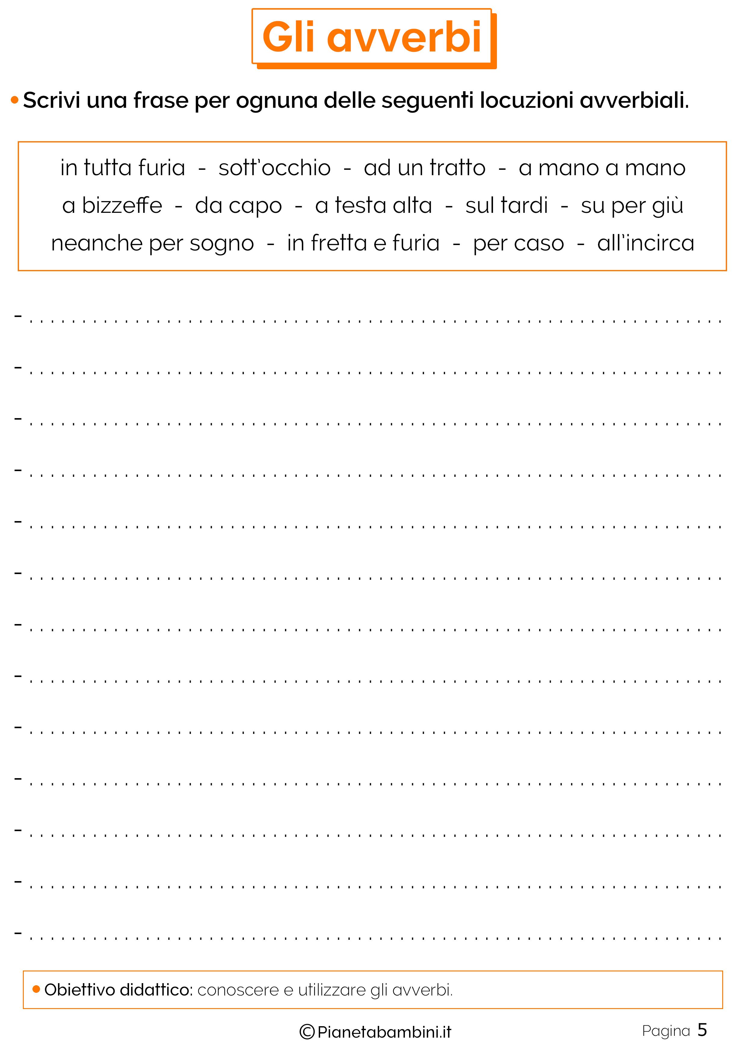 Esercizi sugli avverbi 5