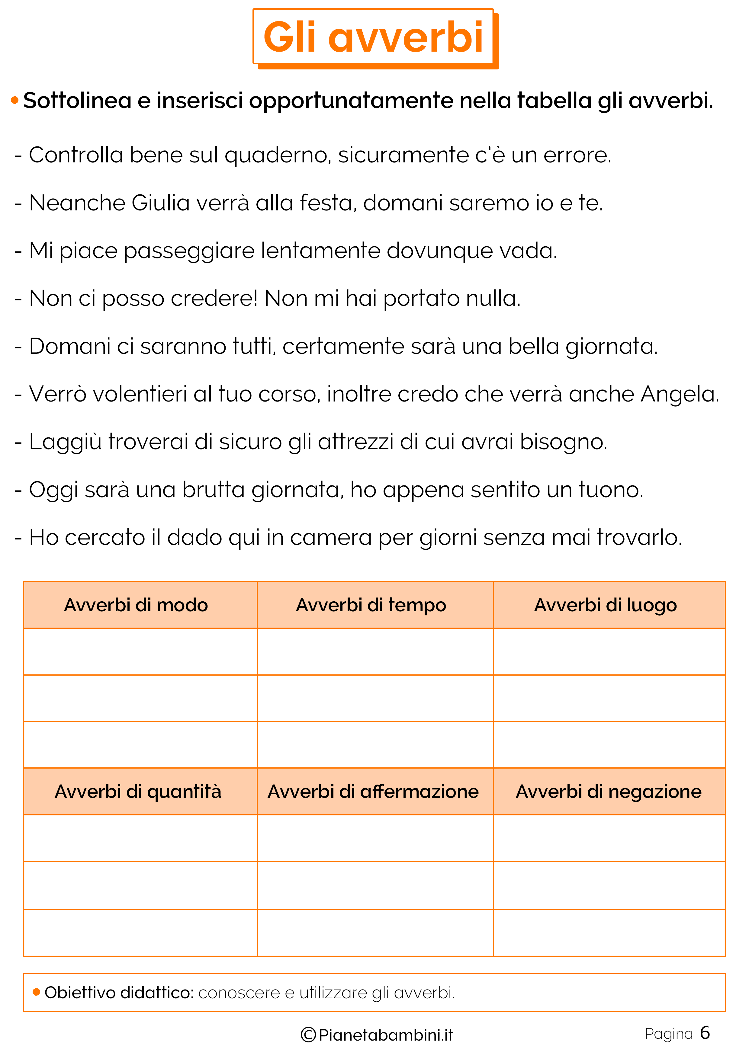 Esercizi sugli avverbi 6