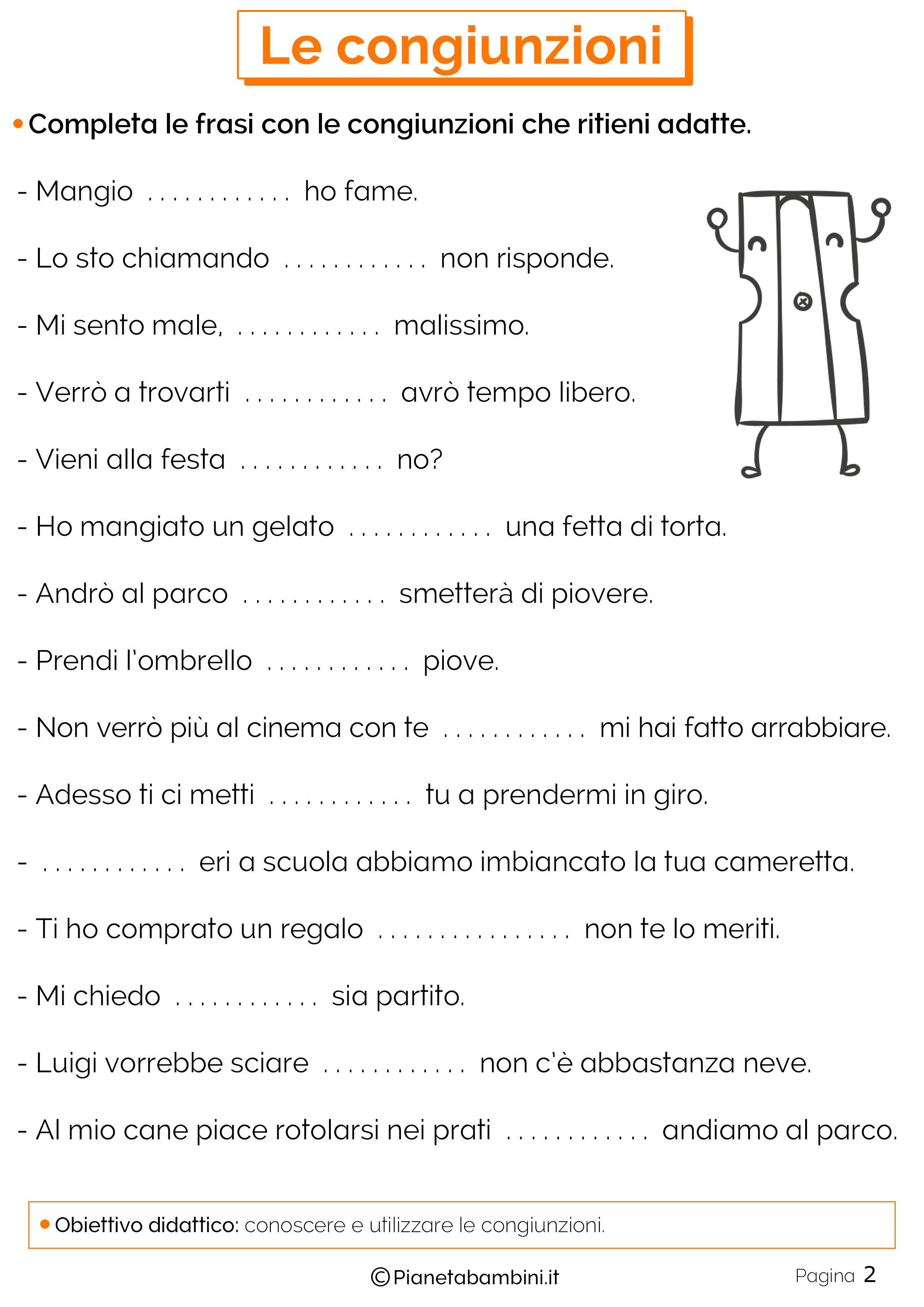 Esercizi sulle congiunzioni 2