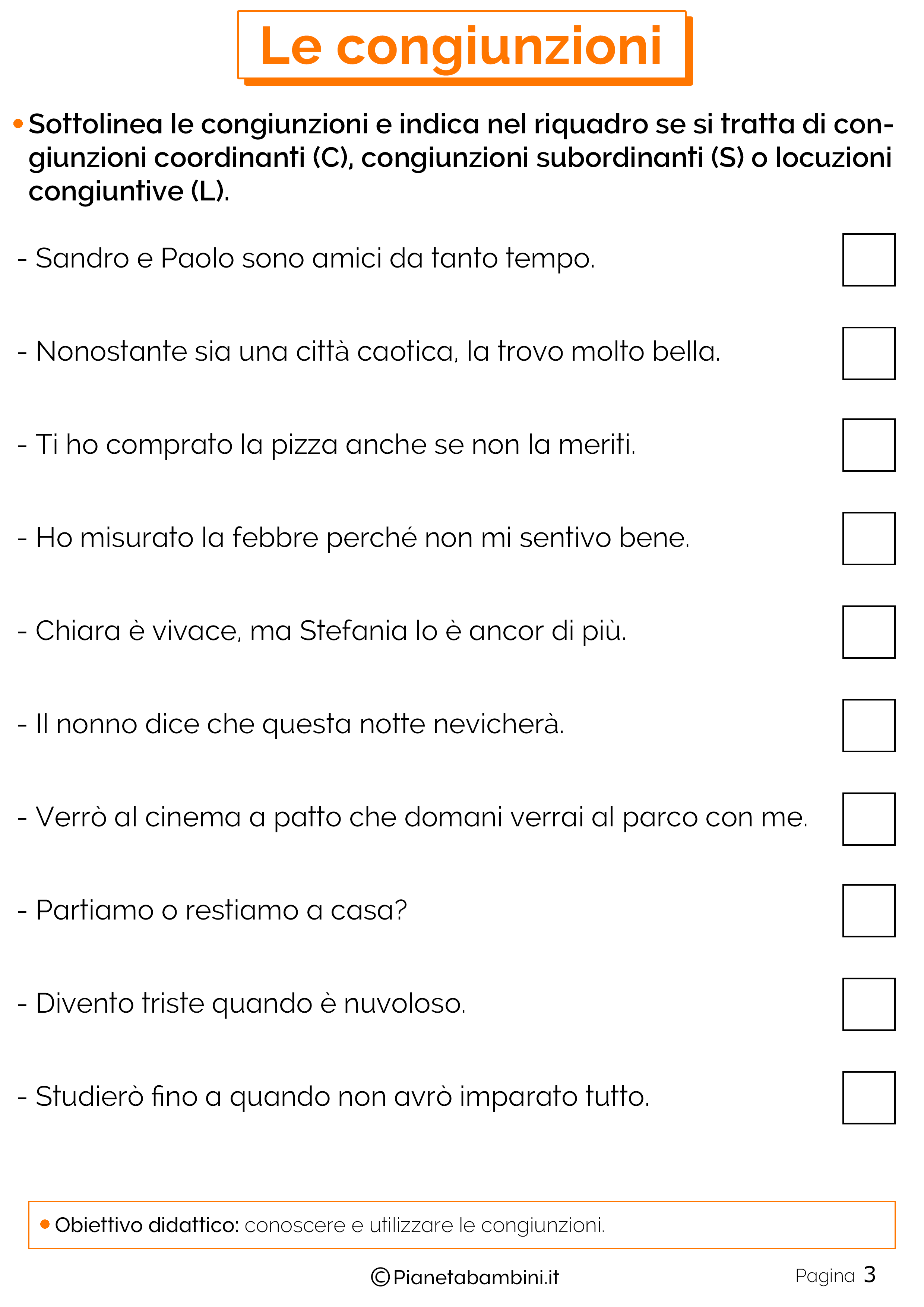 Le congiunzioni esercizi per la scuola primaria
