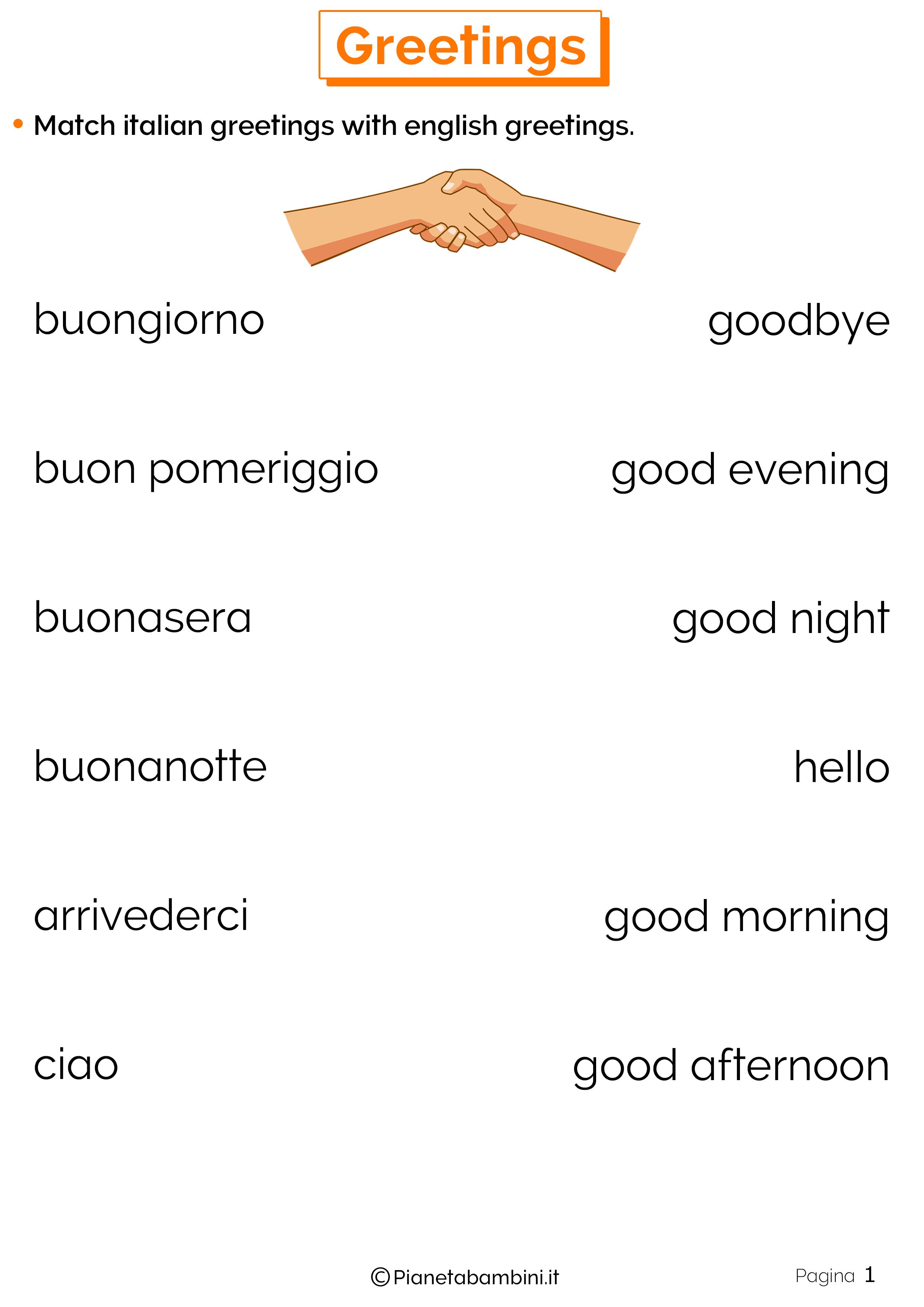 Esercizi sui saluti in inglese 1