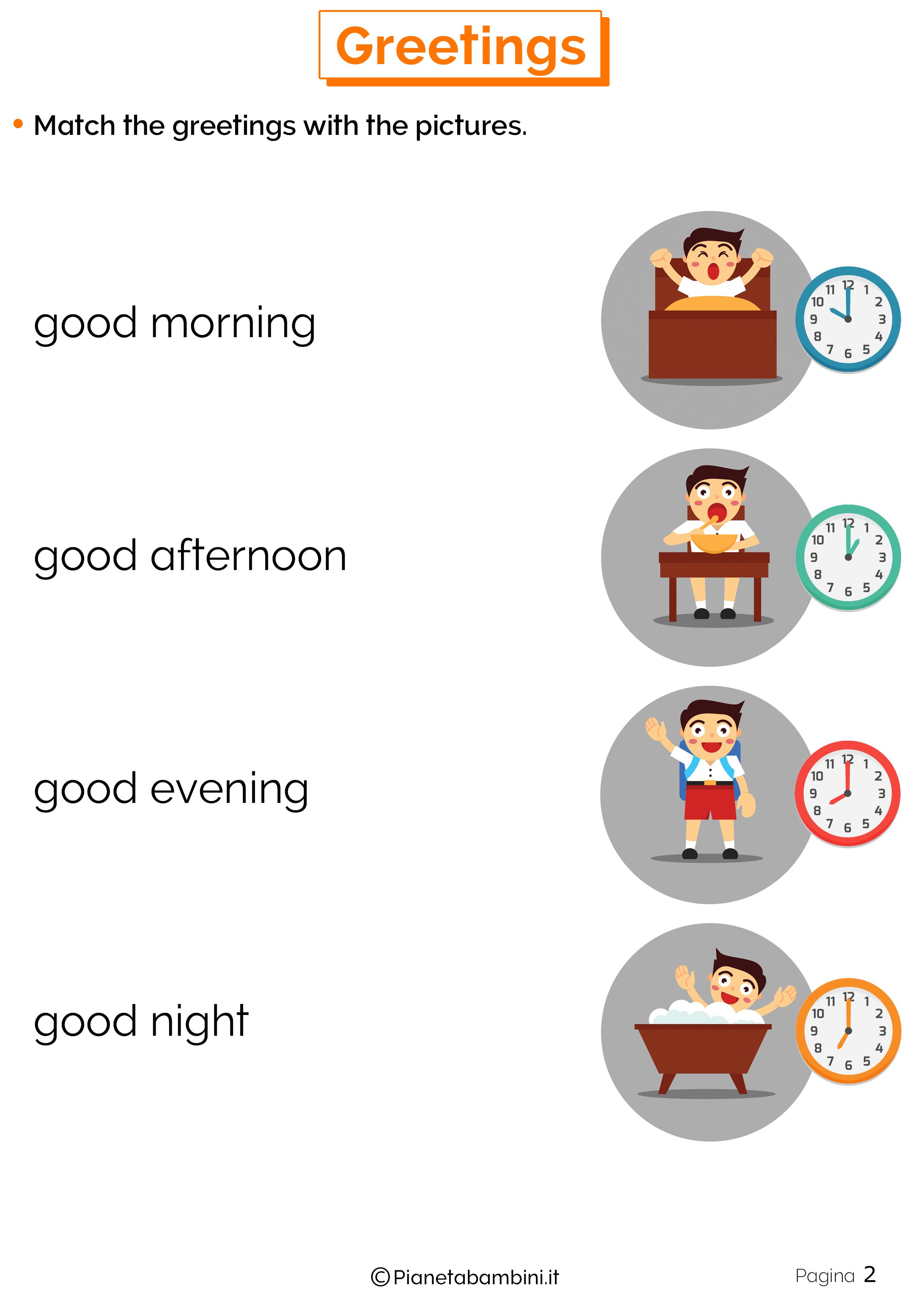 Esercizi sui saluti in inglese 2