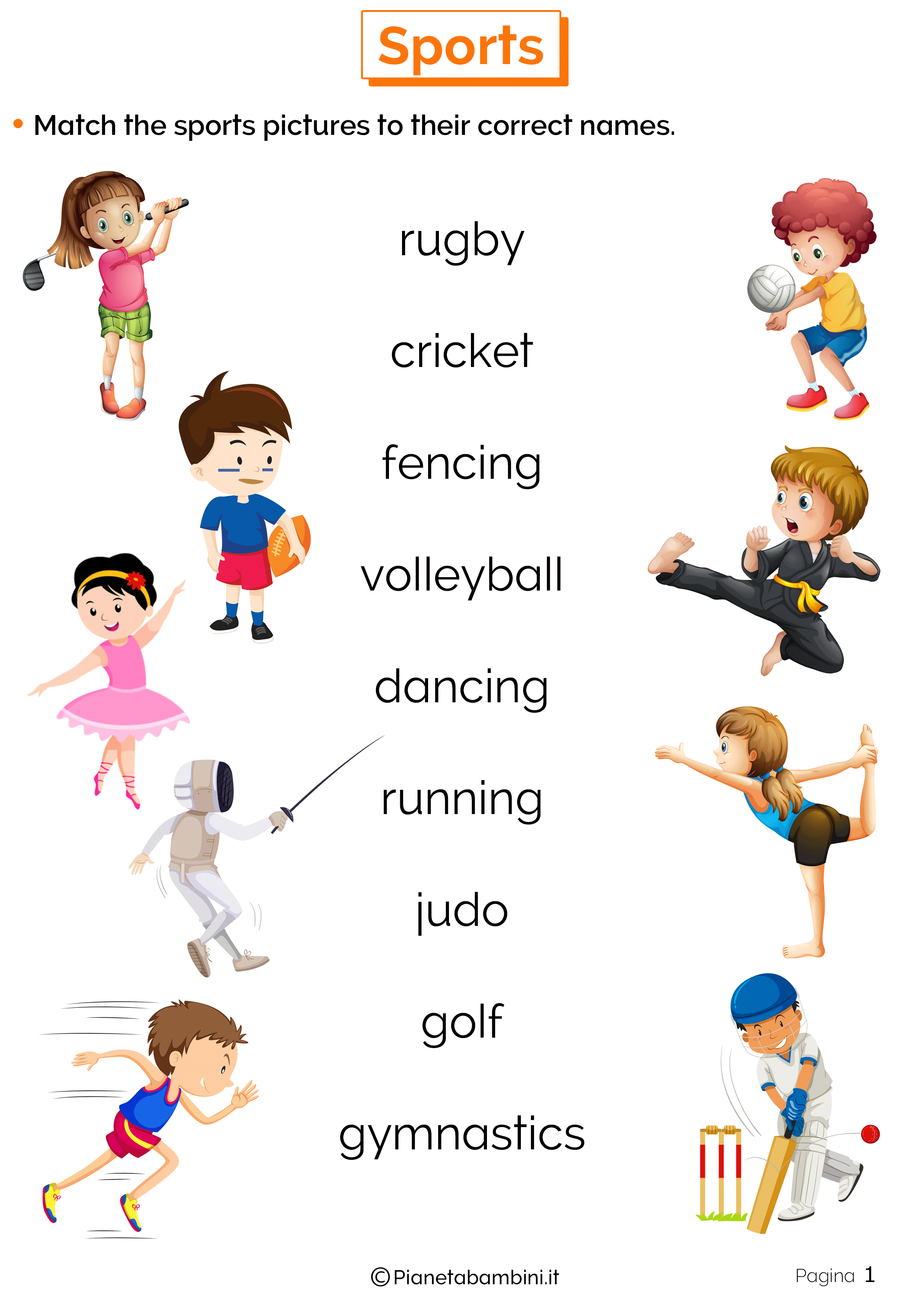 Esercizi sugli sport in inglese 1