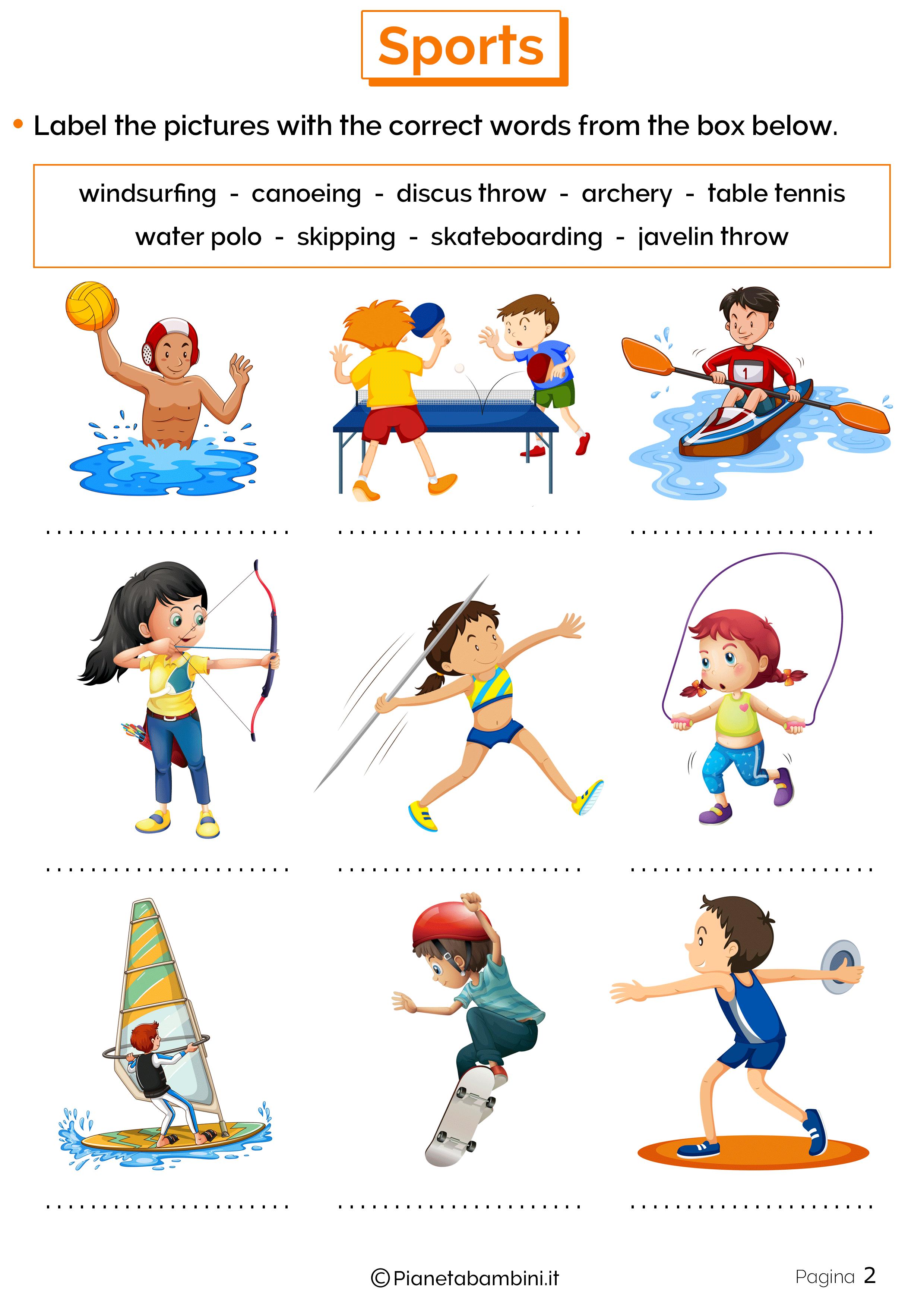 Esercizi sugli sport in inglese 2