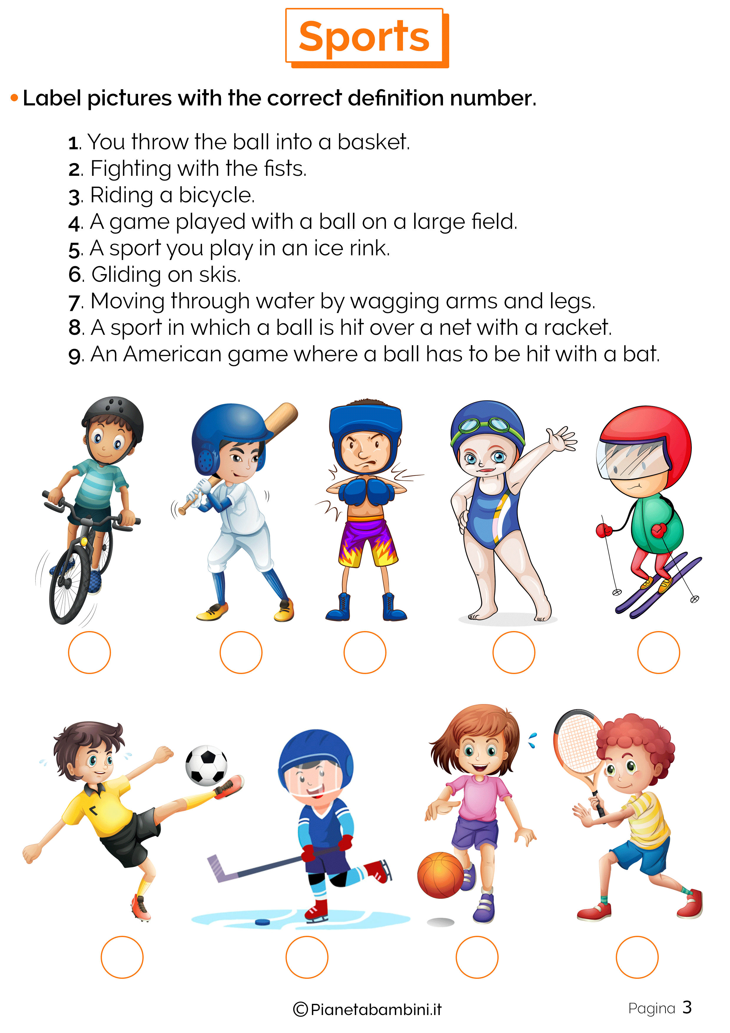 Esercizi sugli sport in inglese 3