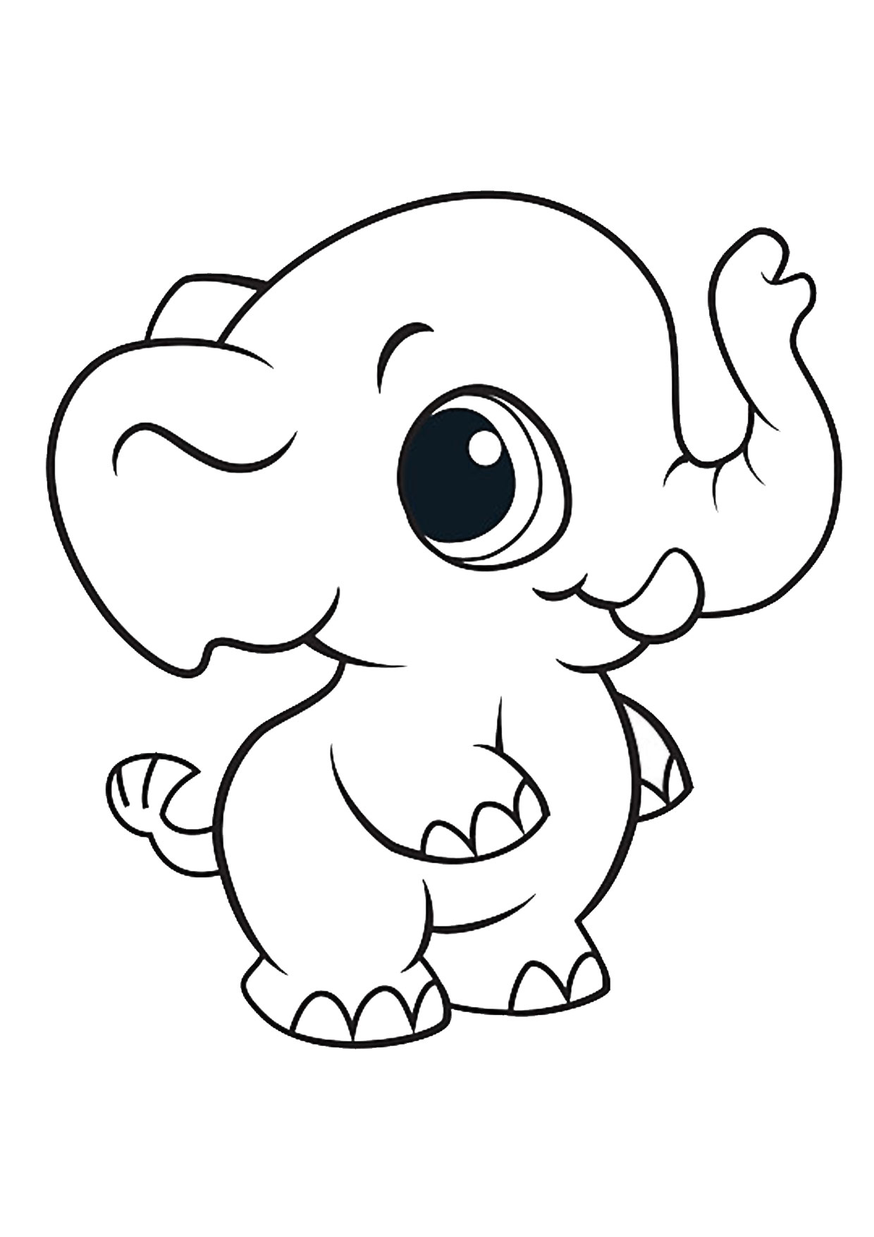 Disegno di Elefante Cartoon da colorare 01