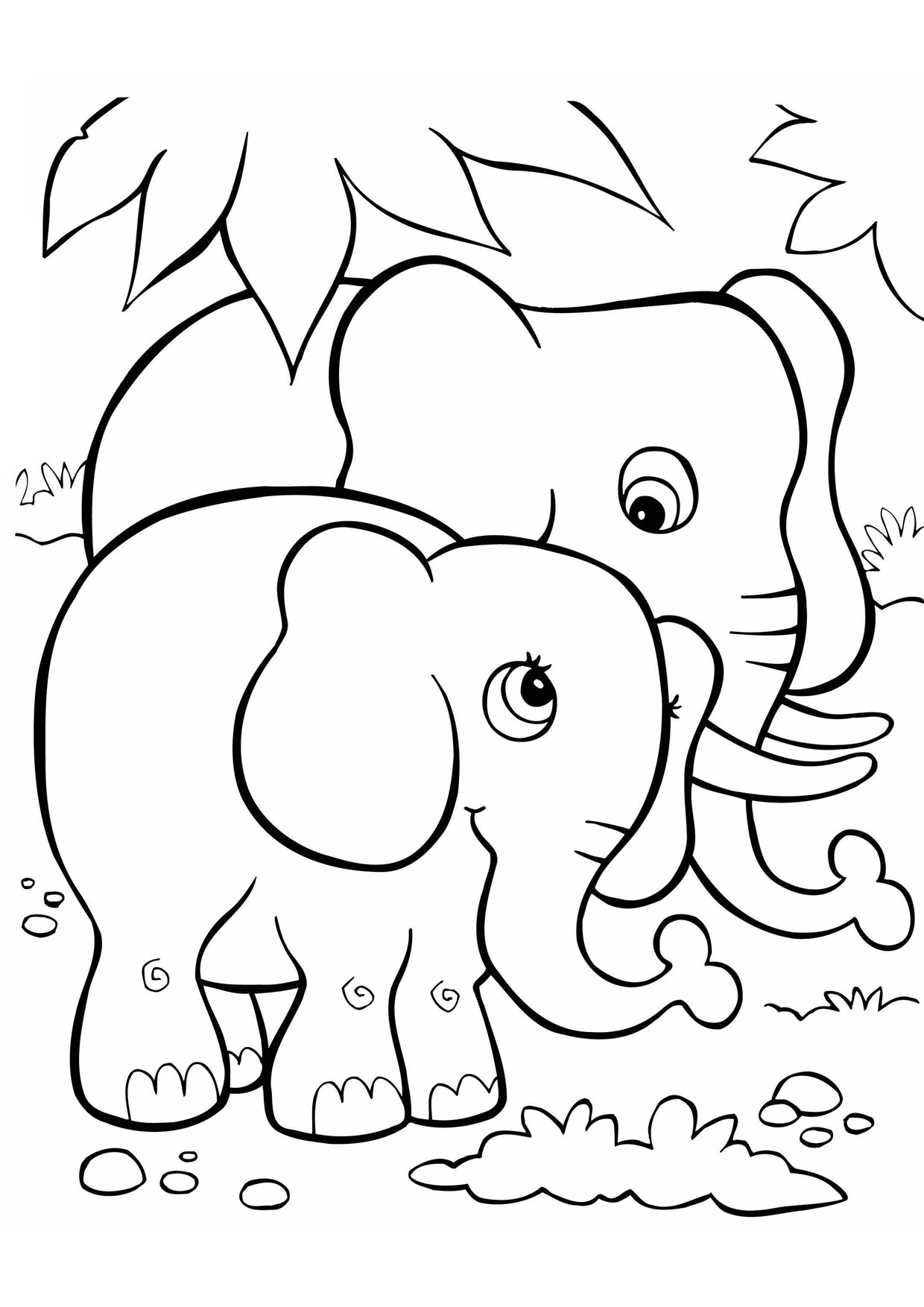 Disegno di Elefante Cartoon da colorare 04