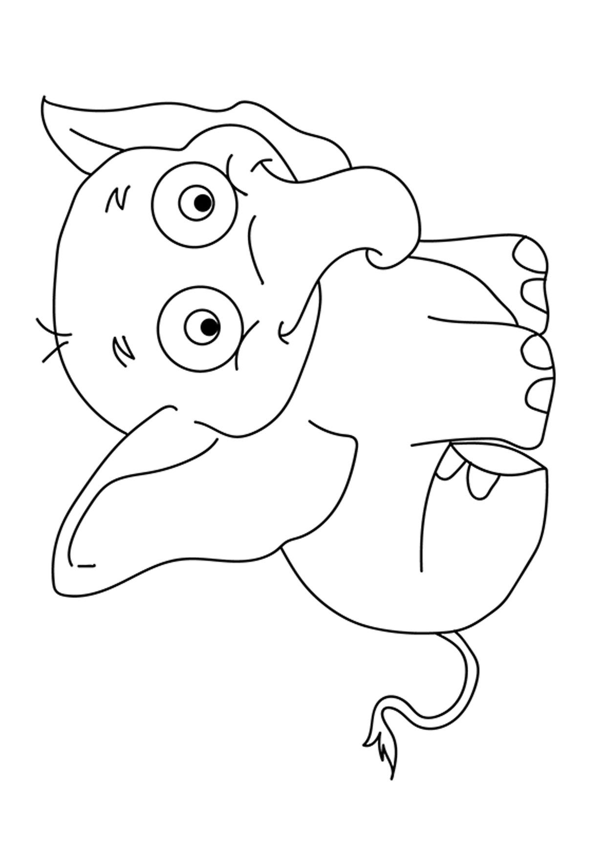 Disegno di Elefante Cartoon da colorare 05