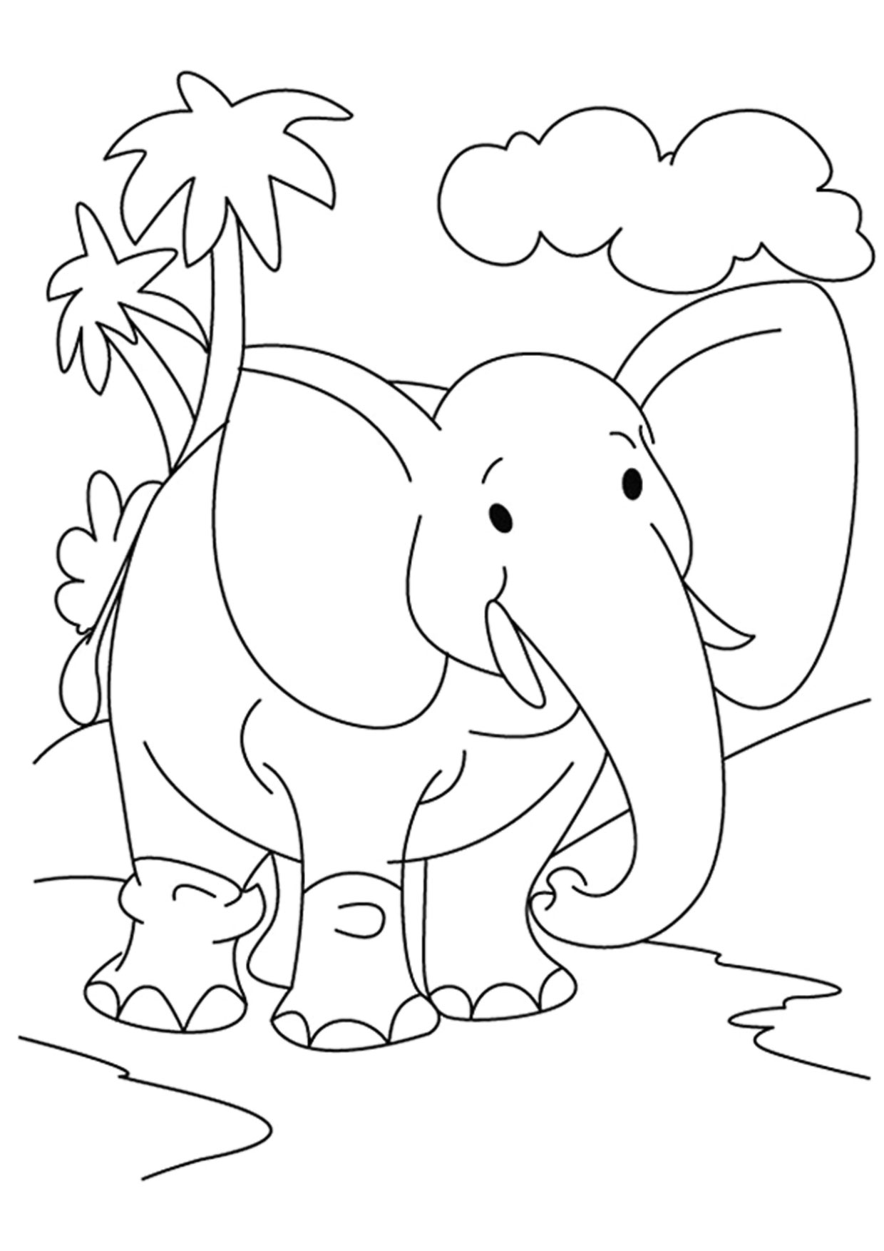 Disegno di Elefante Cartoon da colorare 06