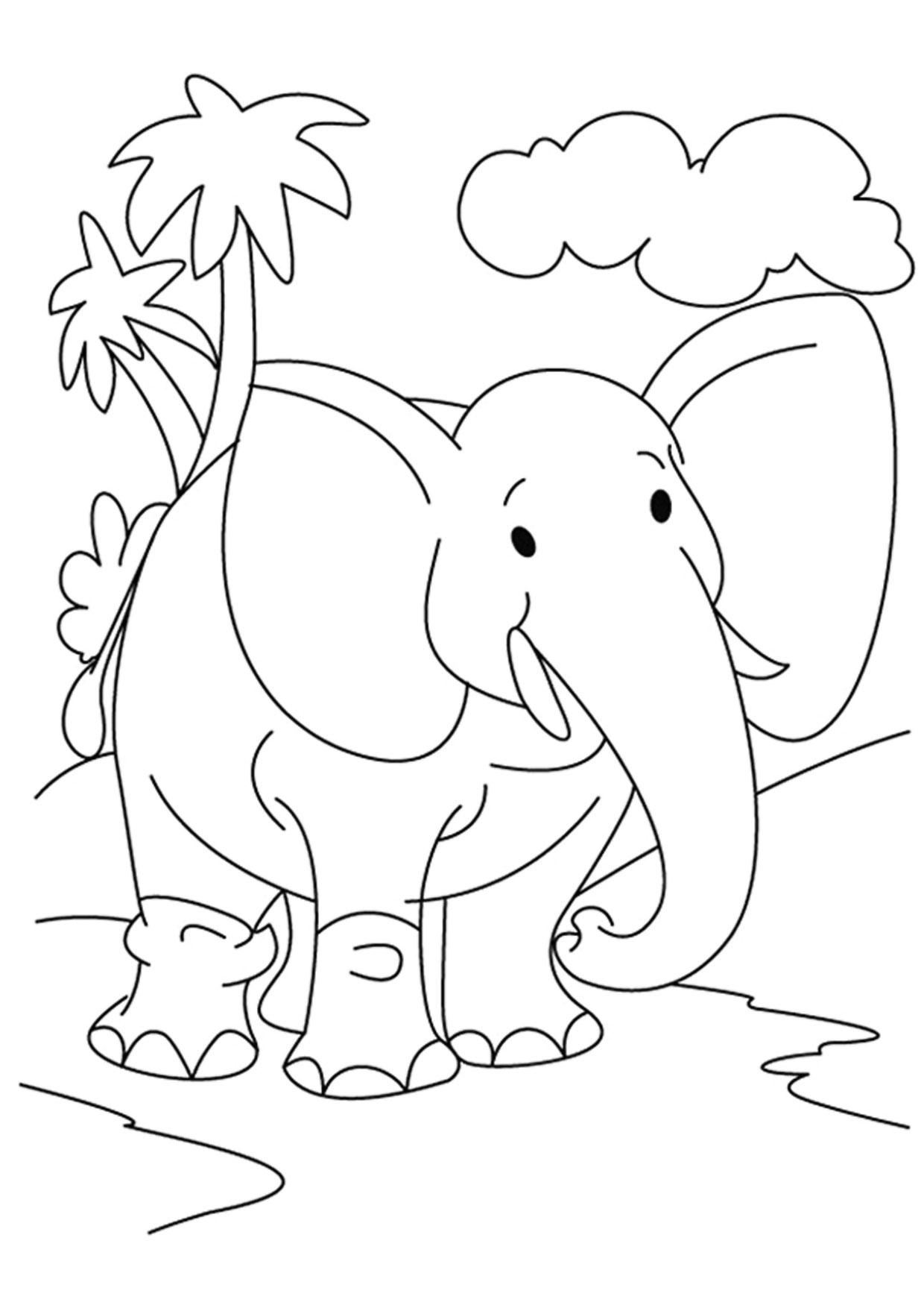 Disegno di Elefante Cartoon da colorare 06