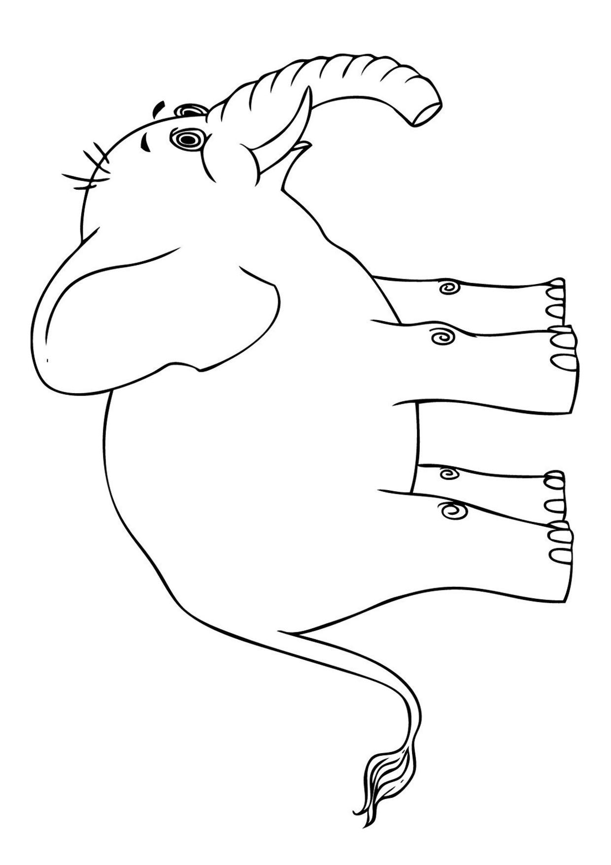 Disegno di Elefante Cartoon da colorare 07