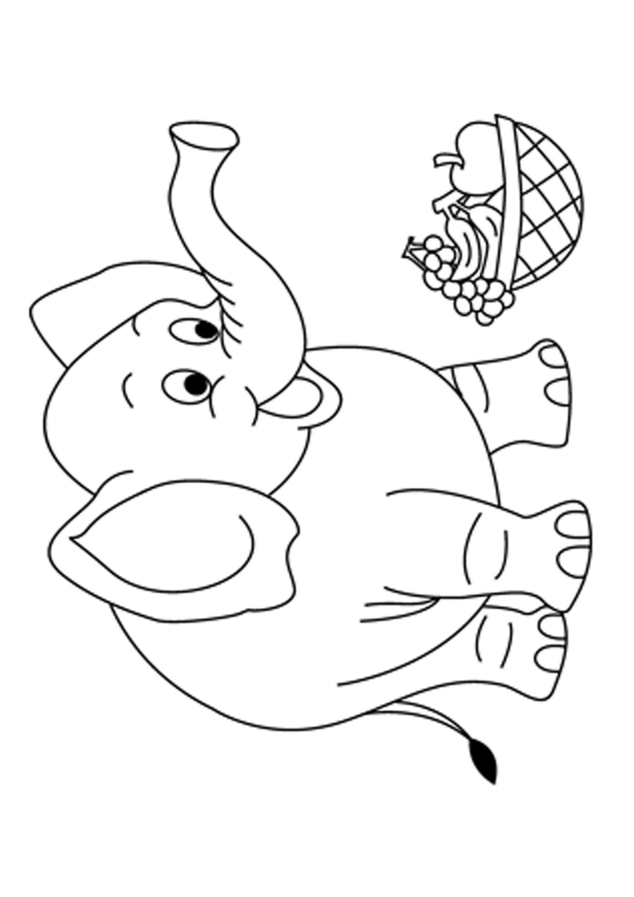 Disegno di Elefante Cartoon da colorare 08