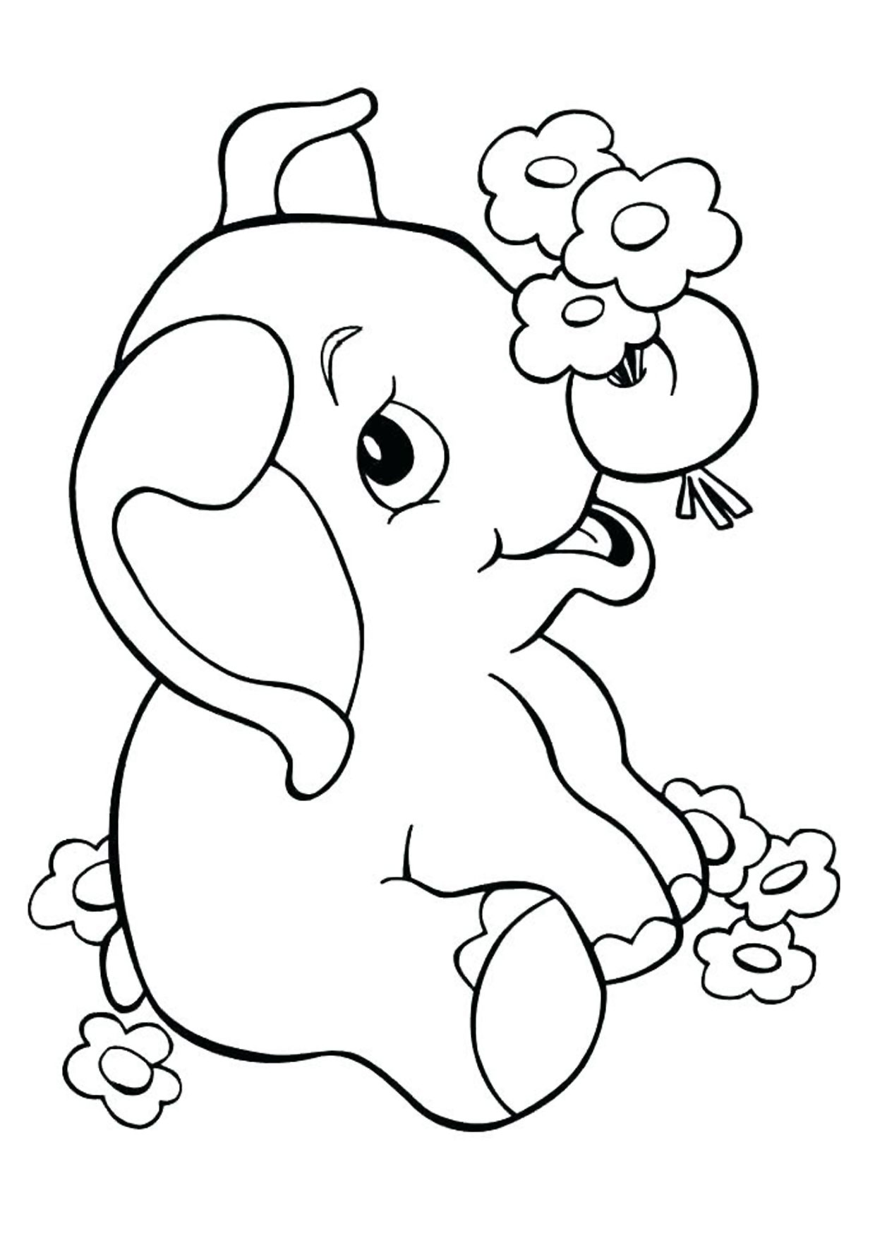 Disegno di Elefante Cartoon da colorare 09