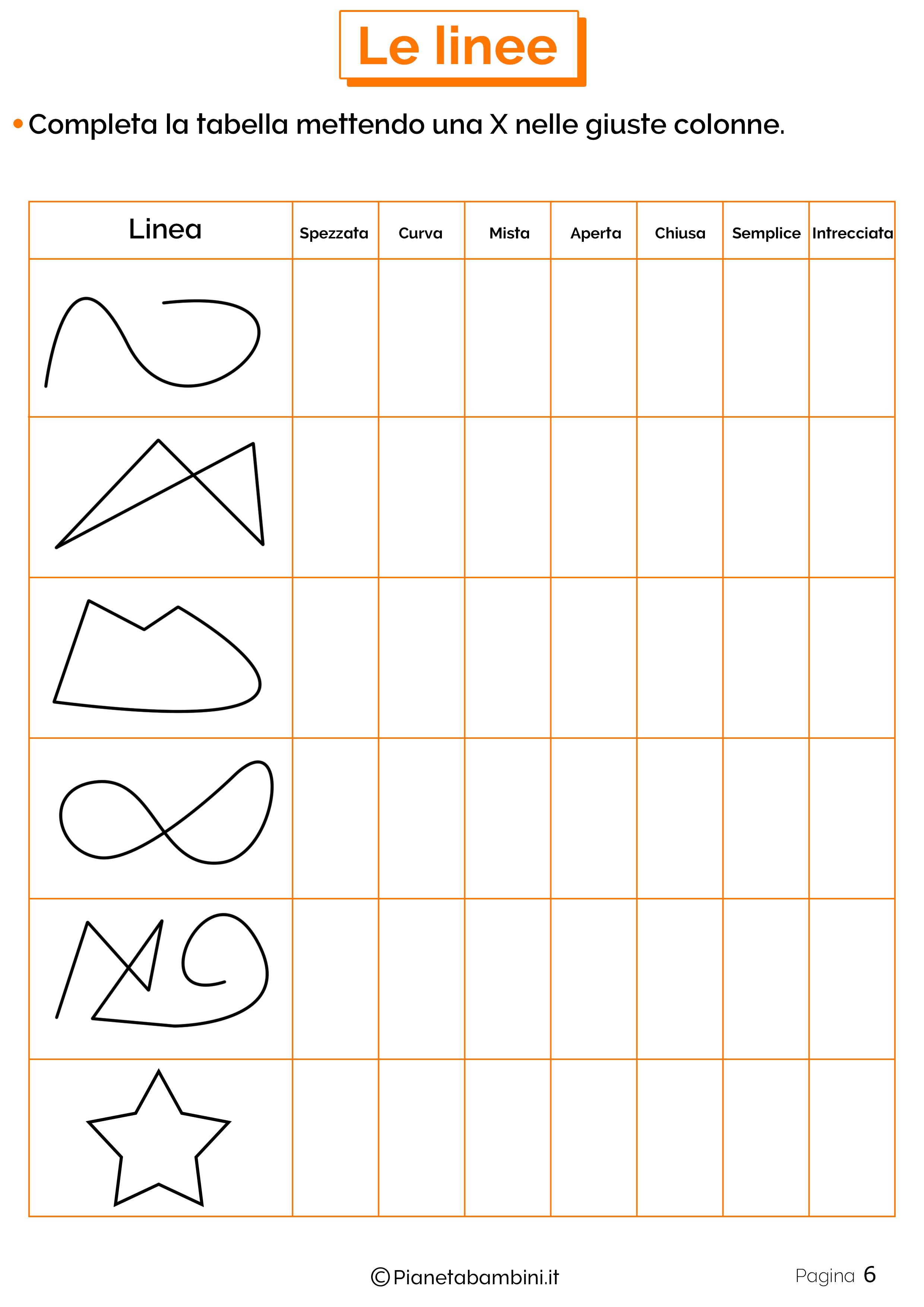 Schede didattiche linee 6