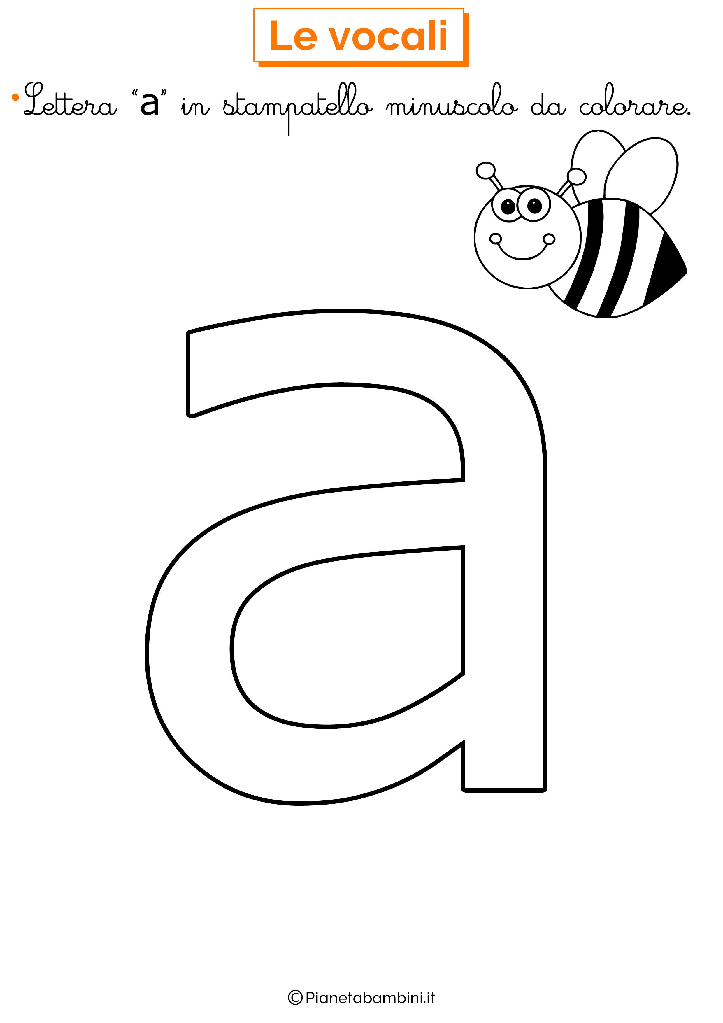 Vocale A in stampatello minuscolo da colorare