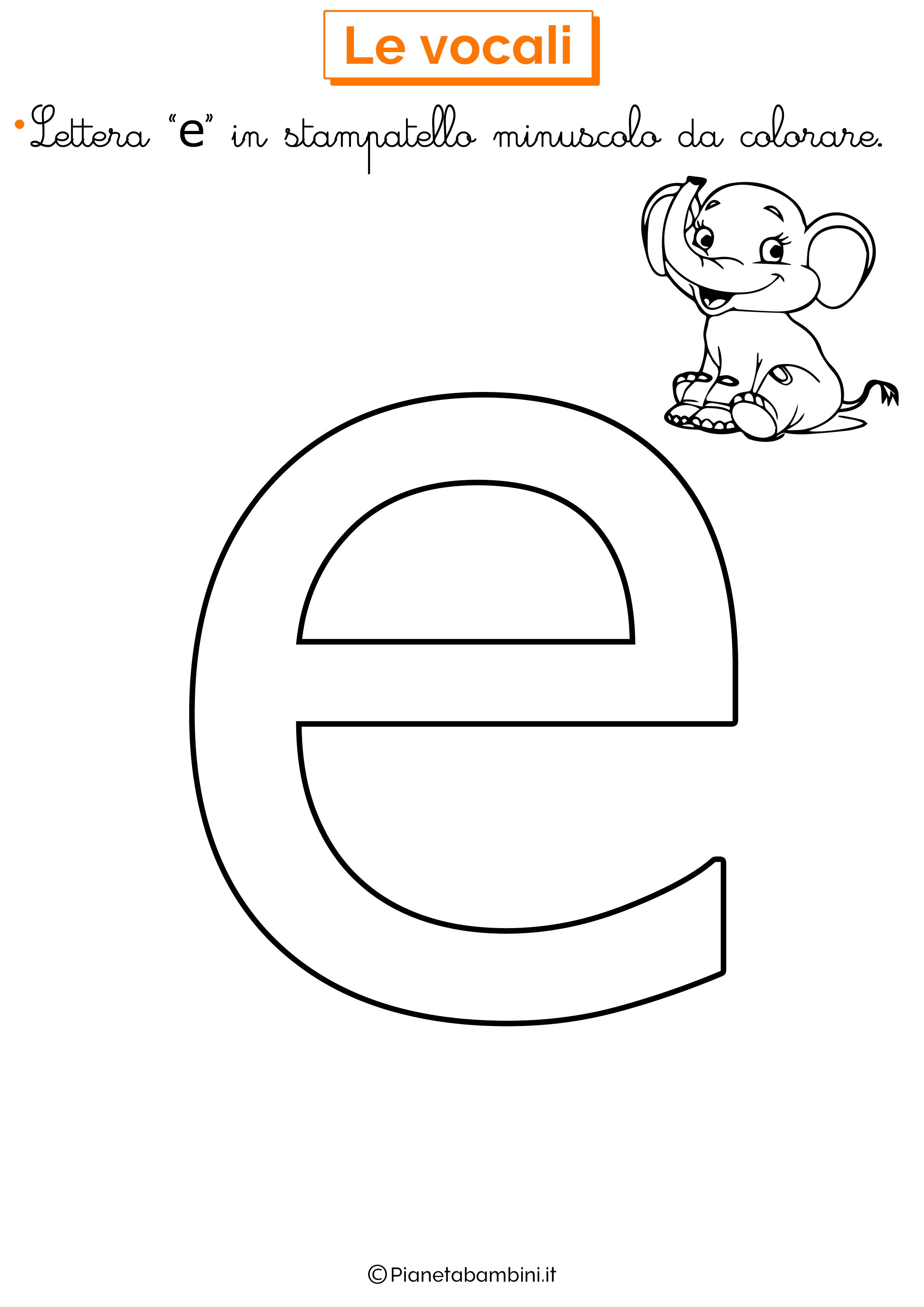 Vocale E in stampatello minuscolo da colorare