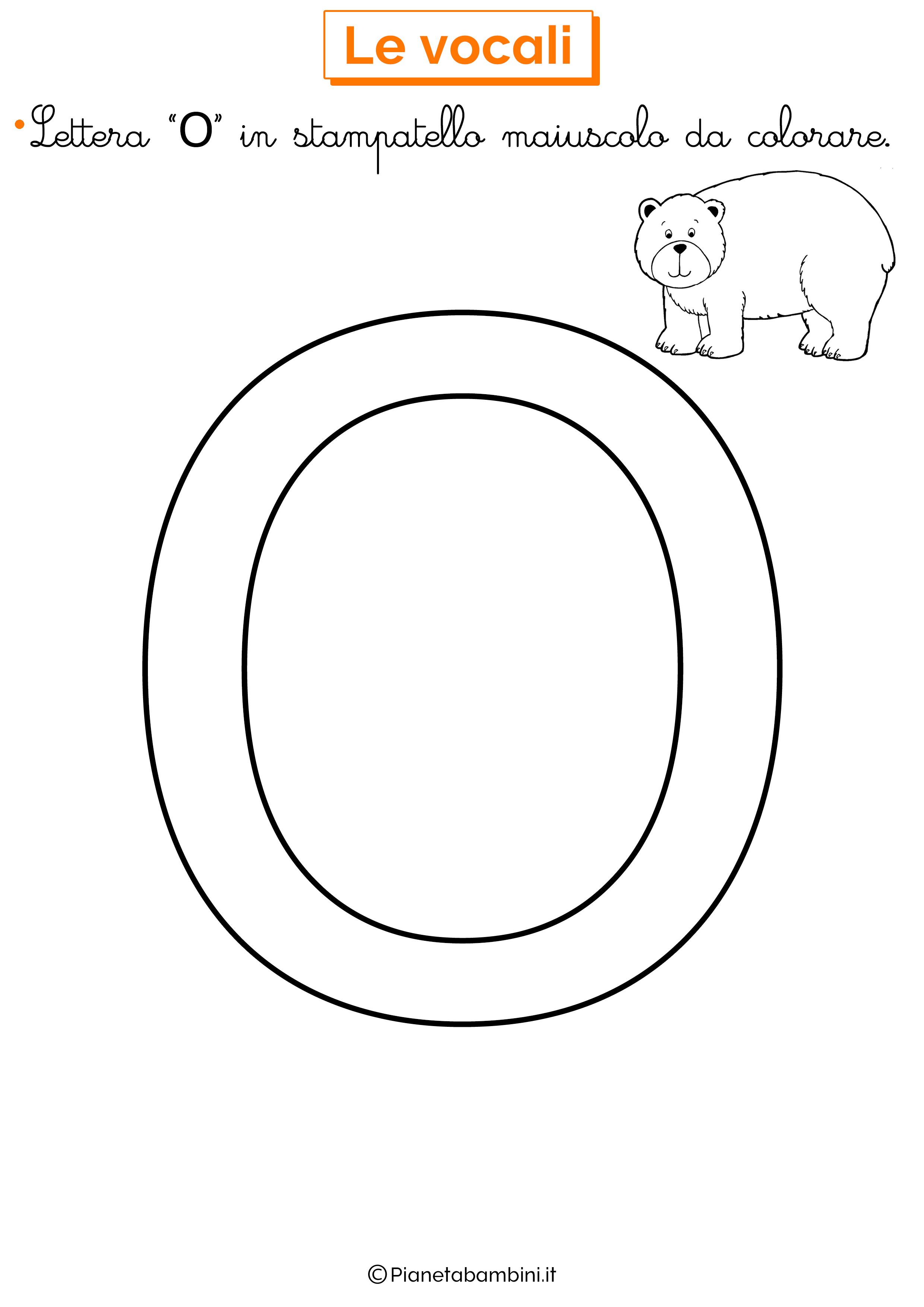 Vocale O in stampatello maiuscolo da colorare