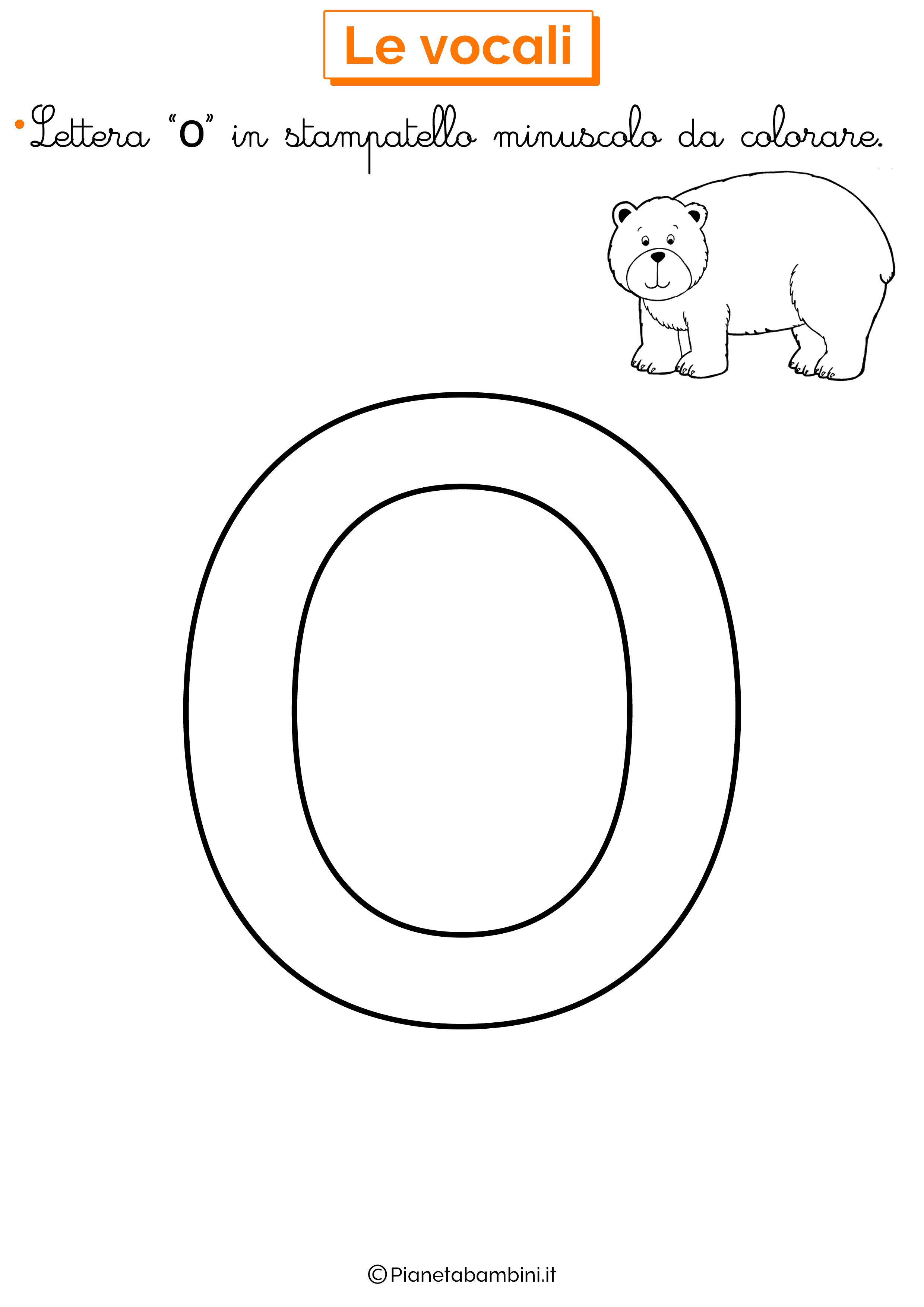 Vocale O in stampatello minuscolo da colorare