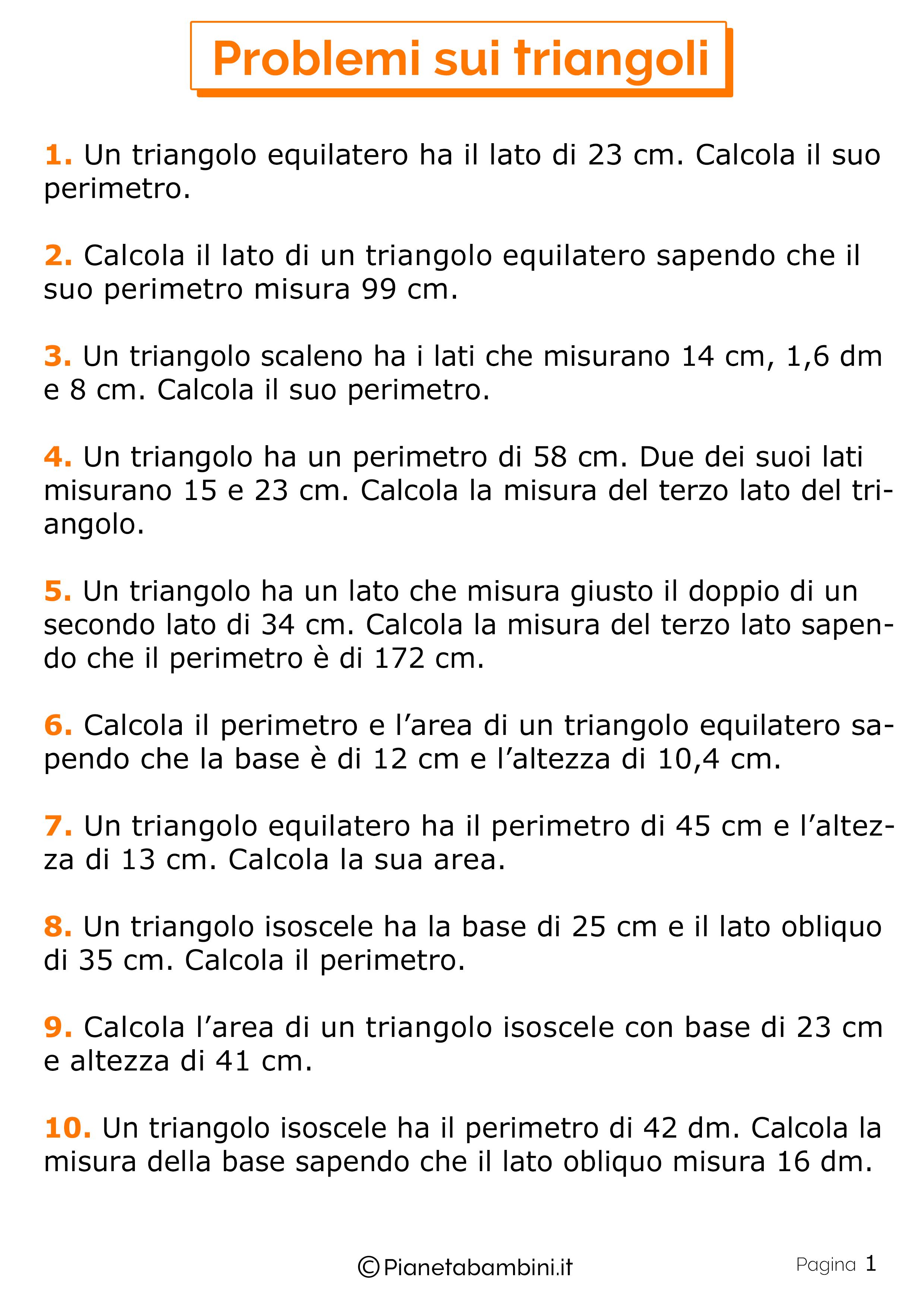 Problemi sui triangoli 1