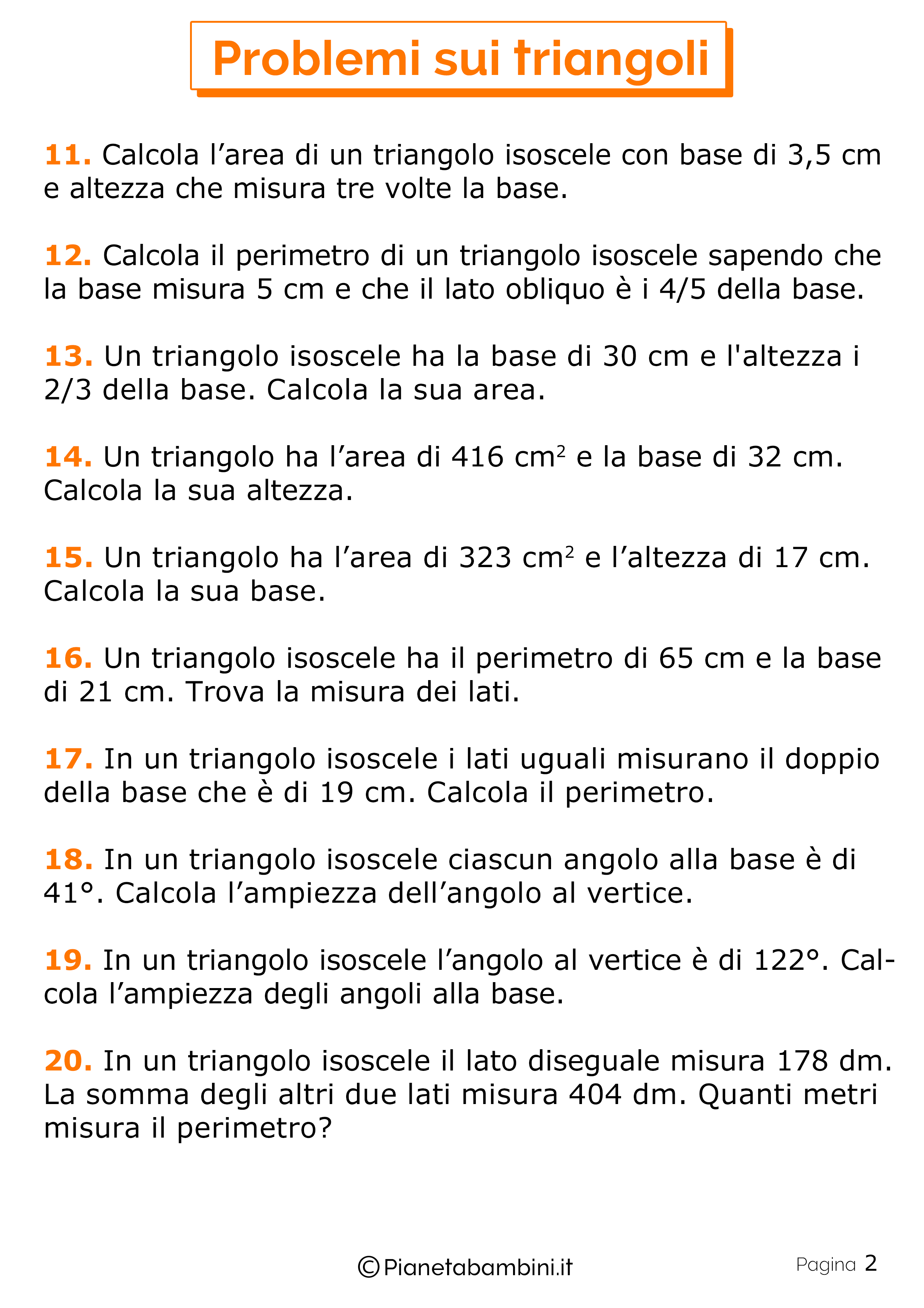 25 Problemi Sui Triangoli Per La Scuola Primaria Pianetabambiniit