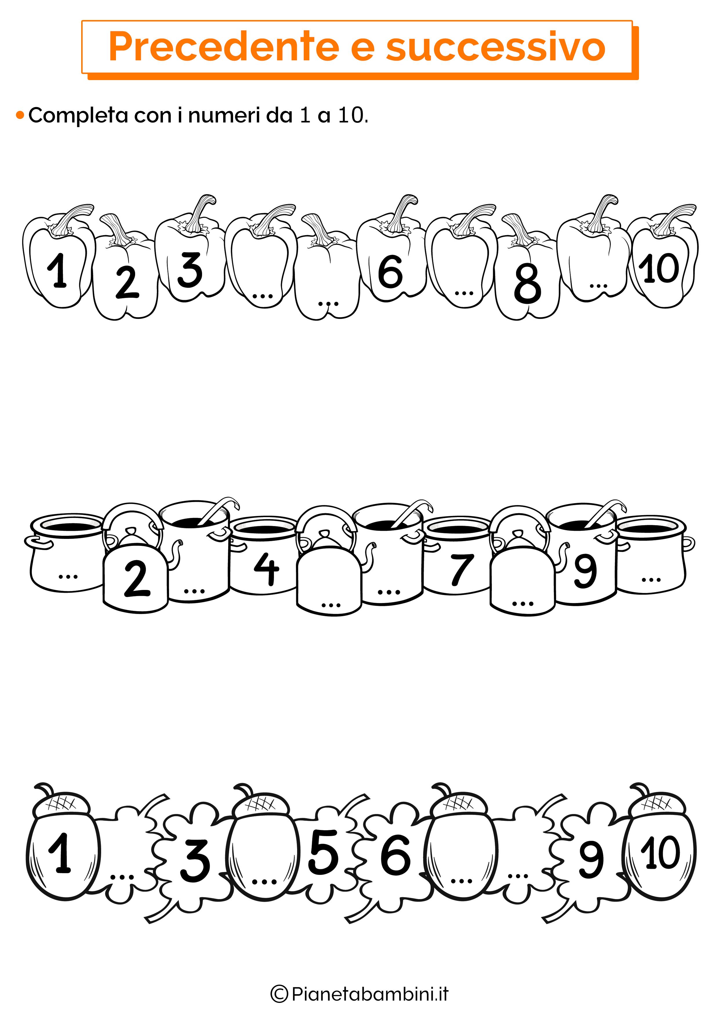 Completa numeri fino a 10