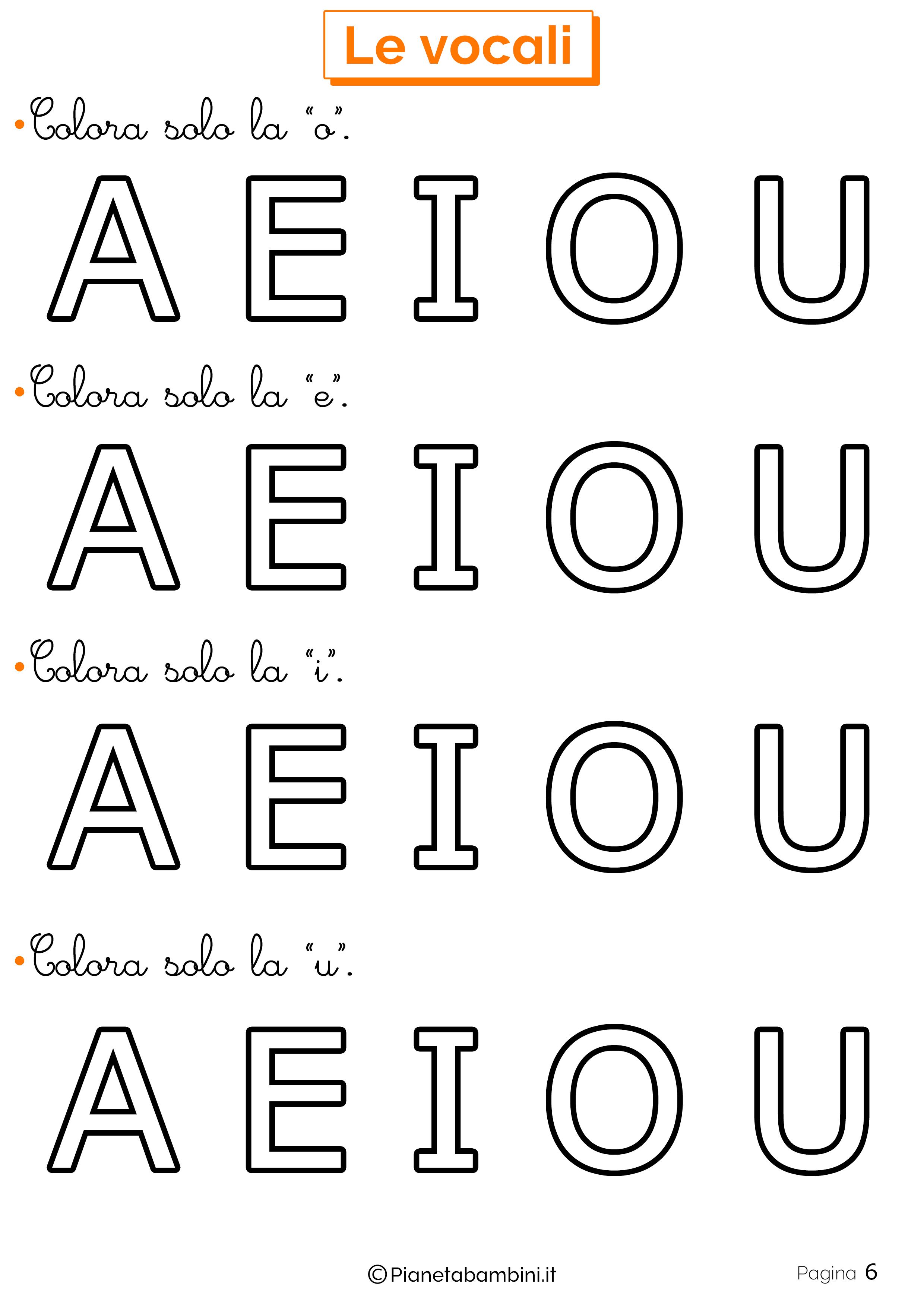 Esercizi sulle vocali 6