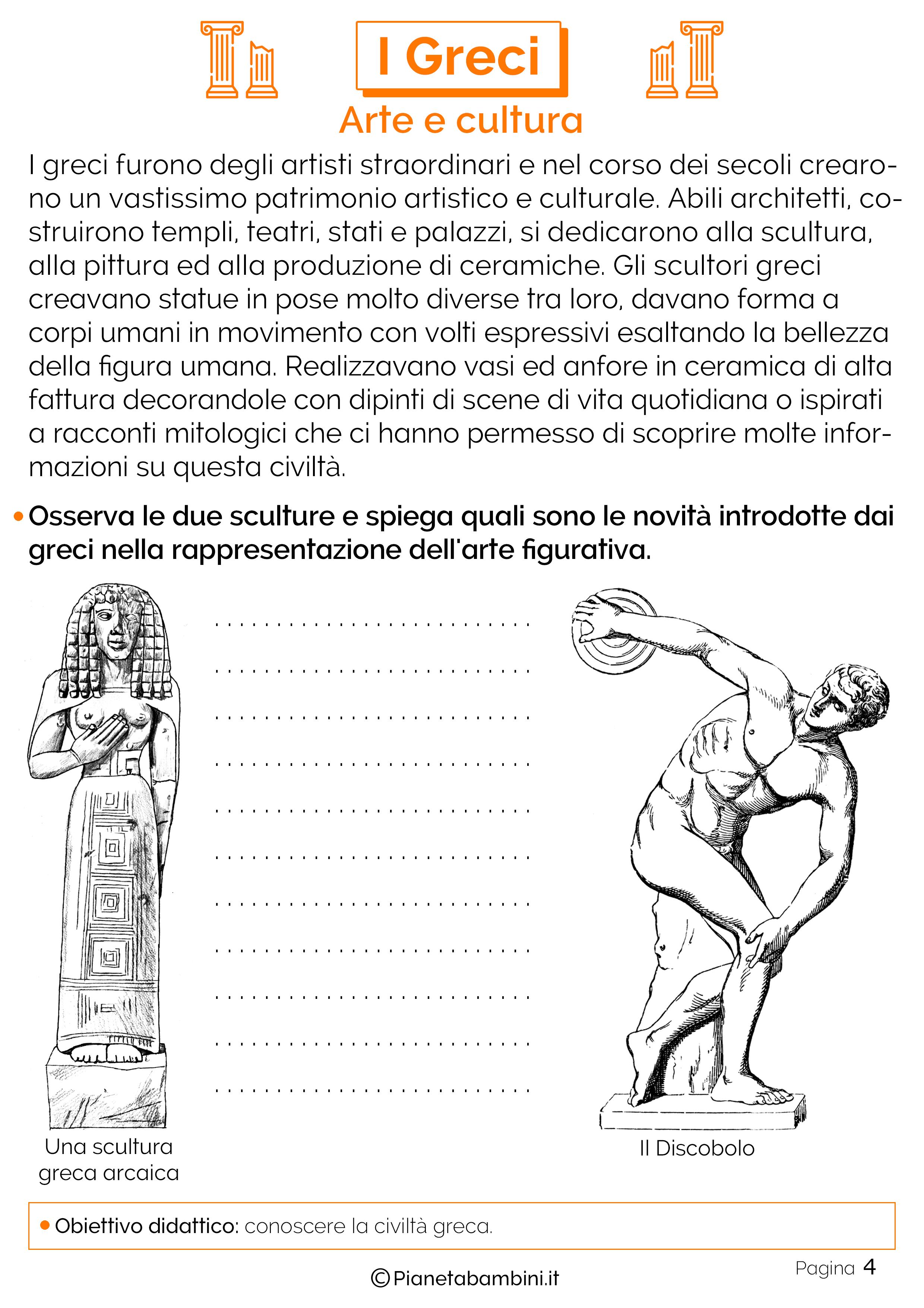 I greci schede didattiche per la scuola primaria