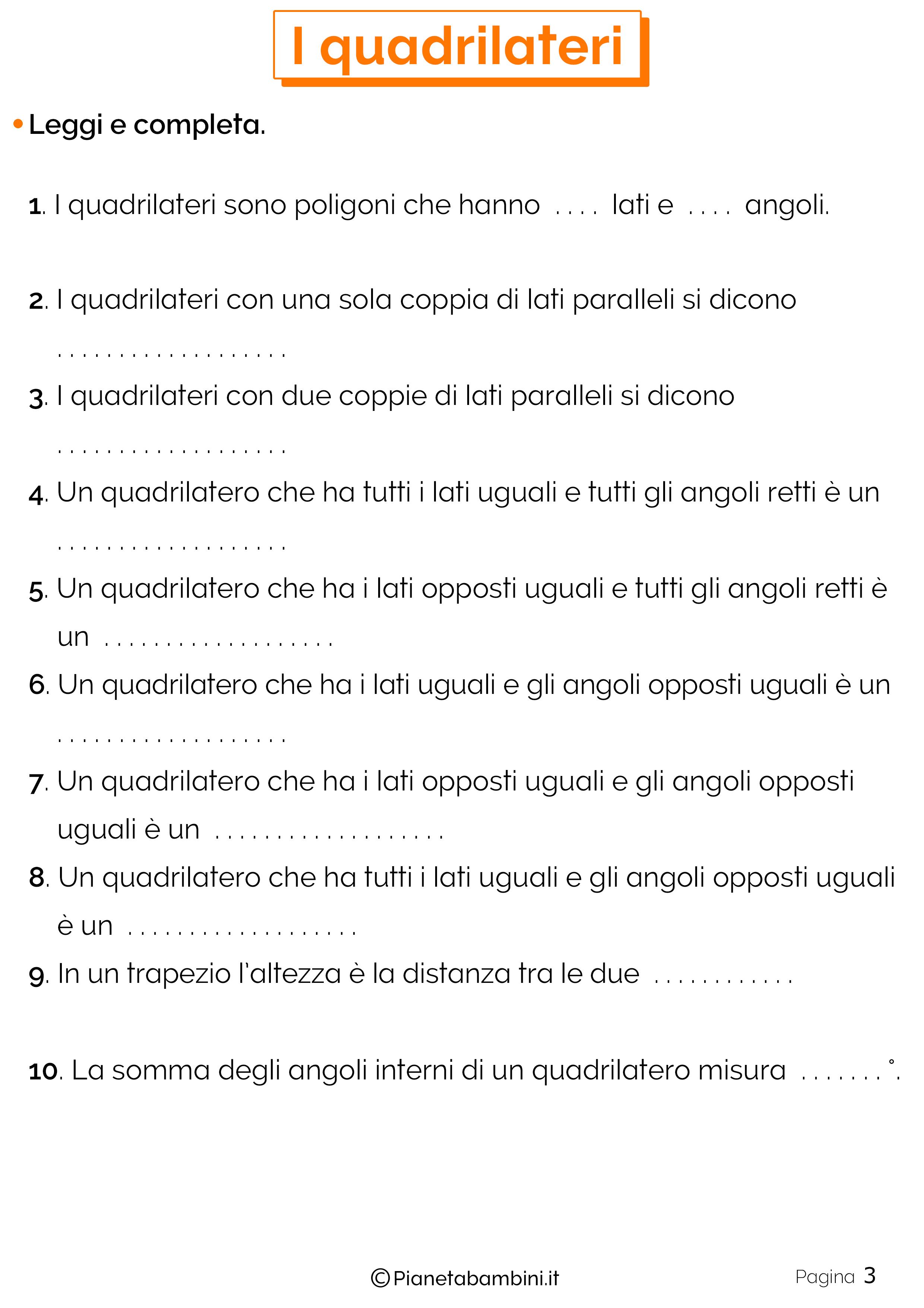 Schede didattiche sui quadrilateri 3