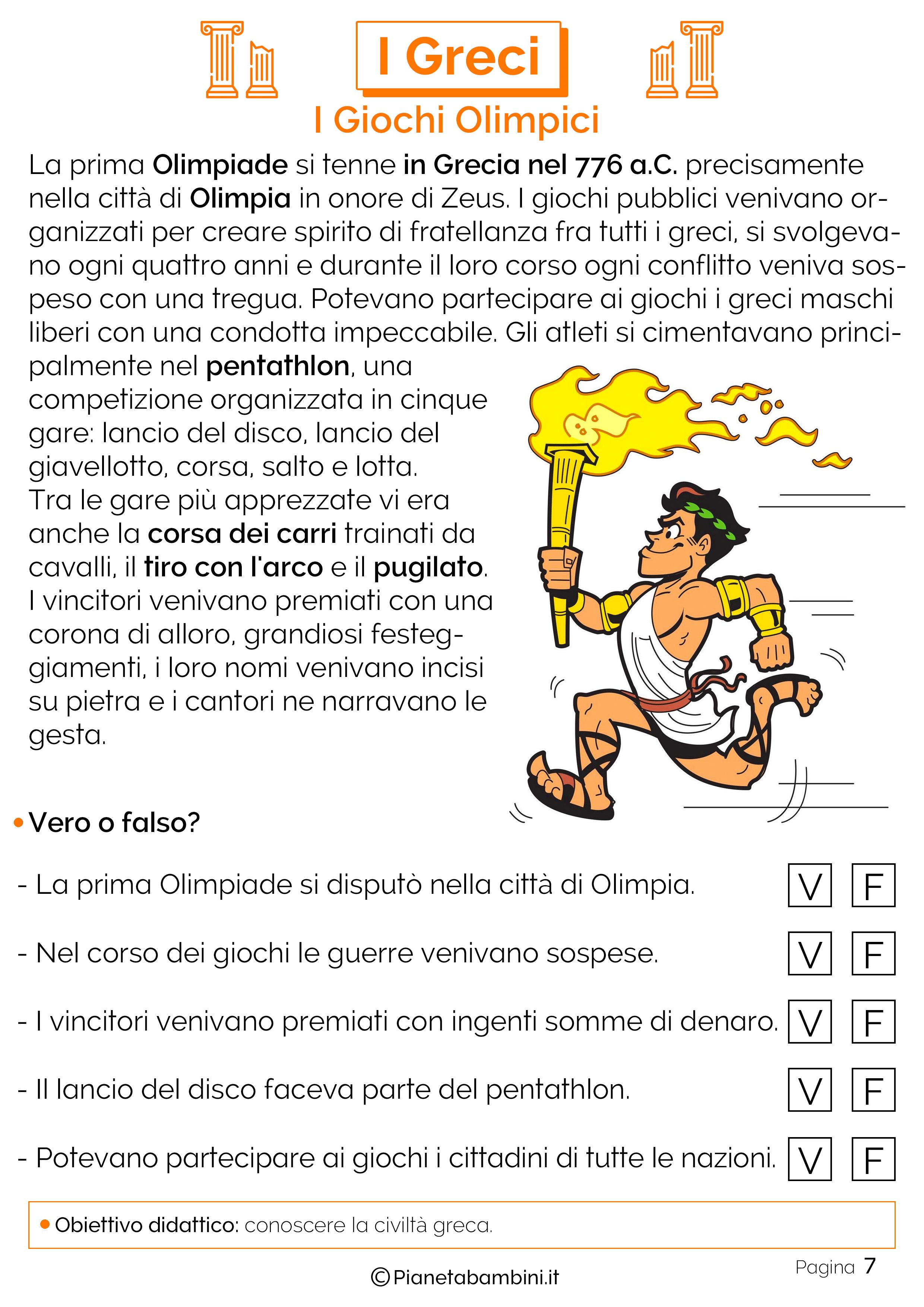 I giochi olimpici nell'antica grecia