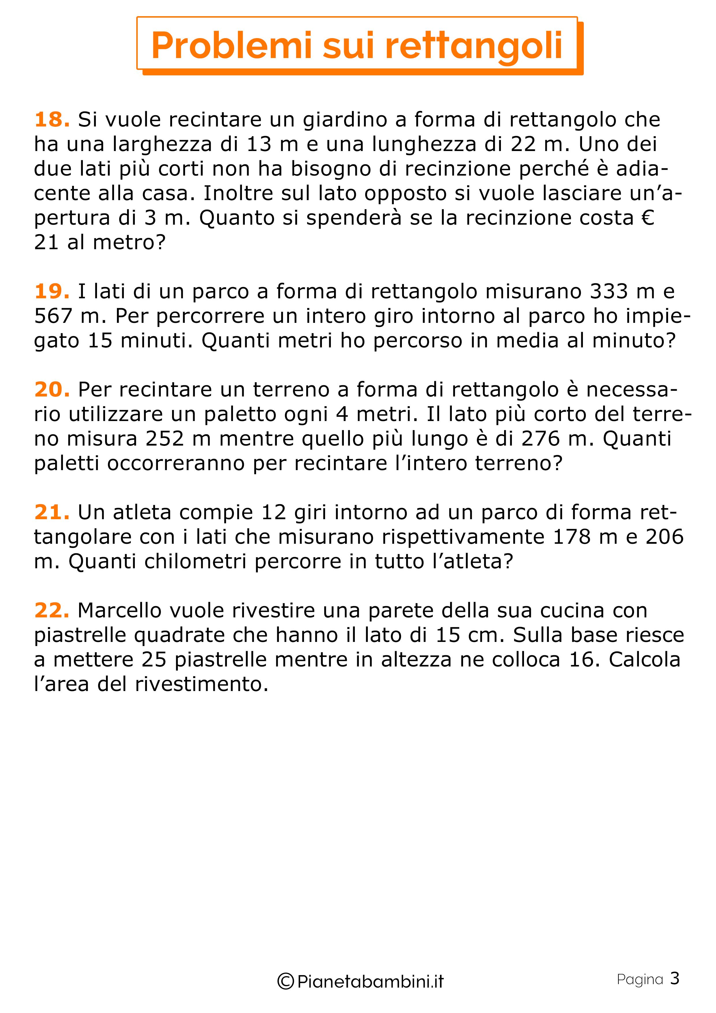 Problemi sui Rettangoli per bambini 3