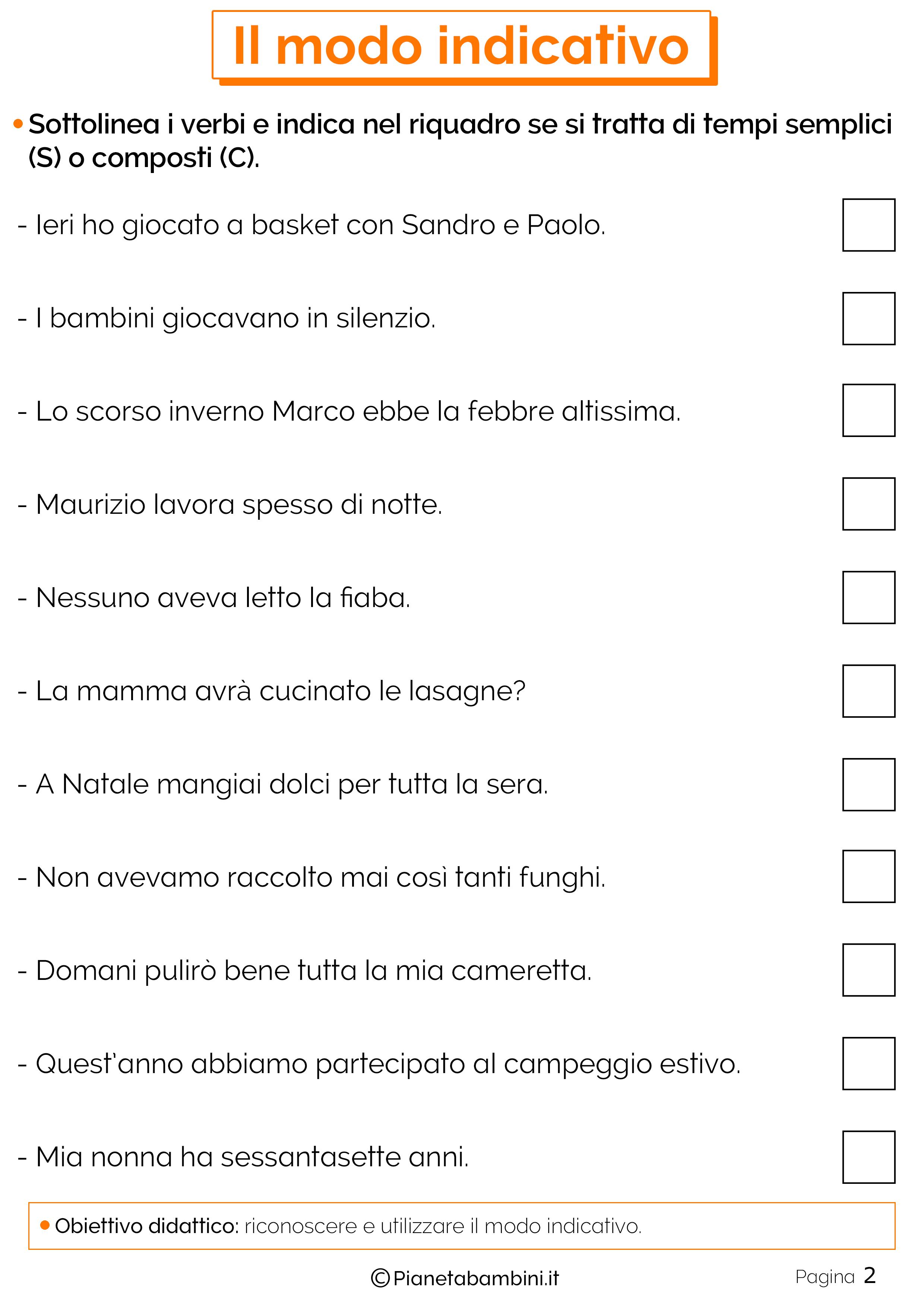 Esercizi sul modo indicativo 2