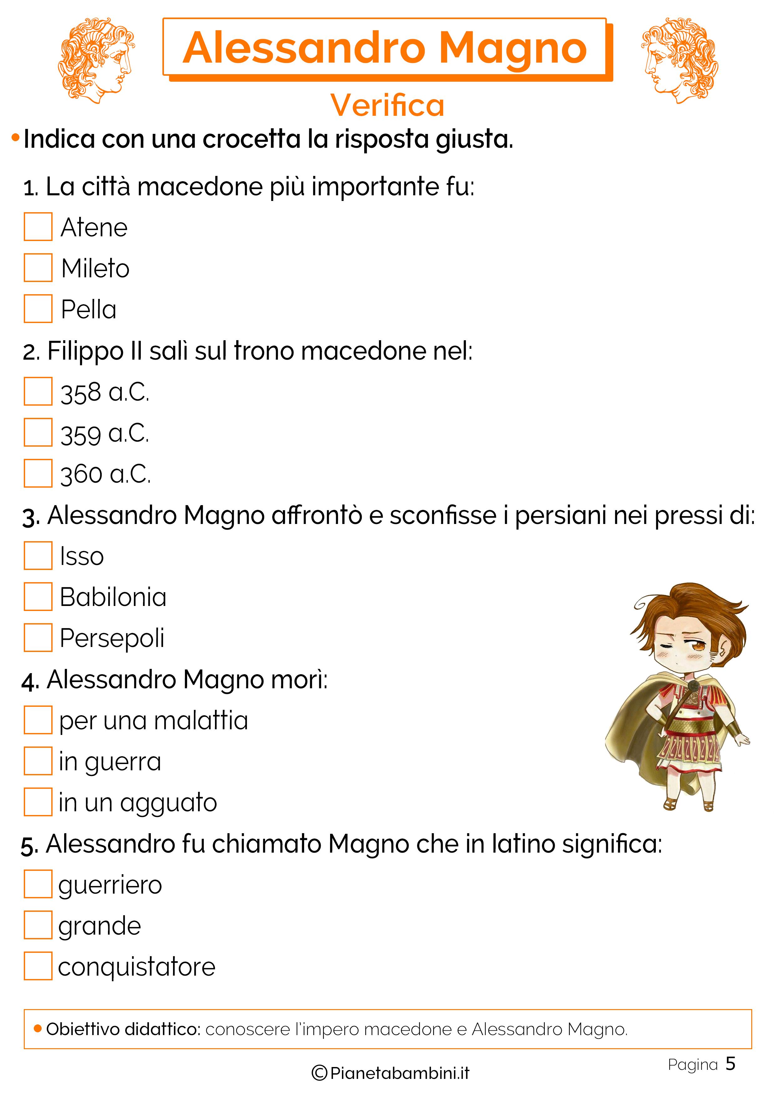 Verifica sui macedoni e Alessandro Magno