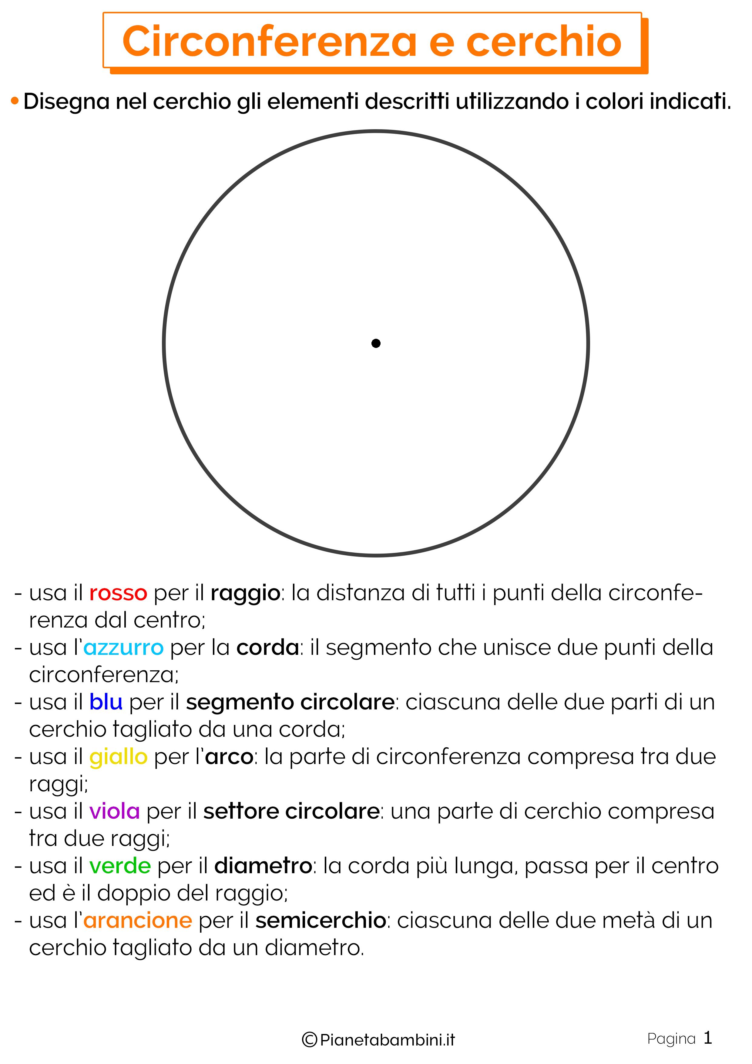 Schede didattiche su circonferenza e cerchio 6