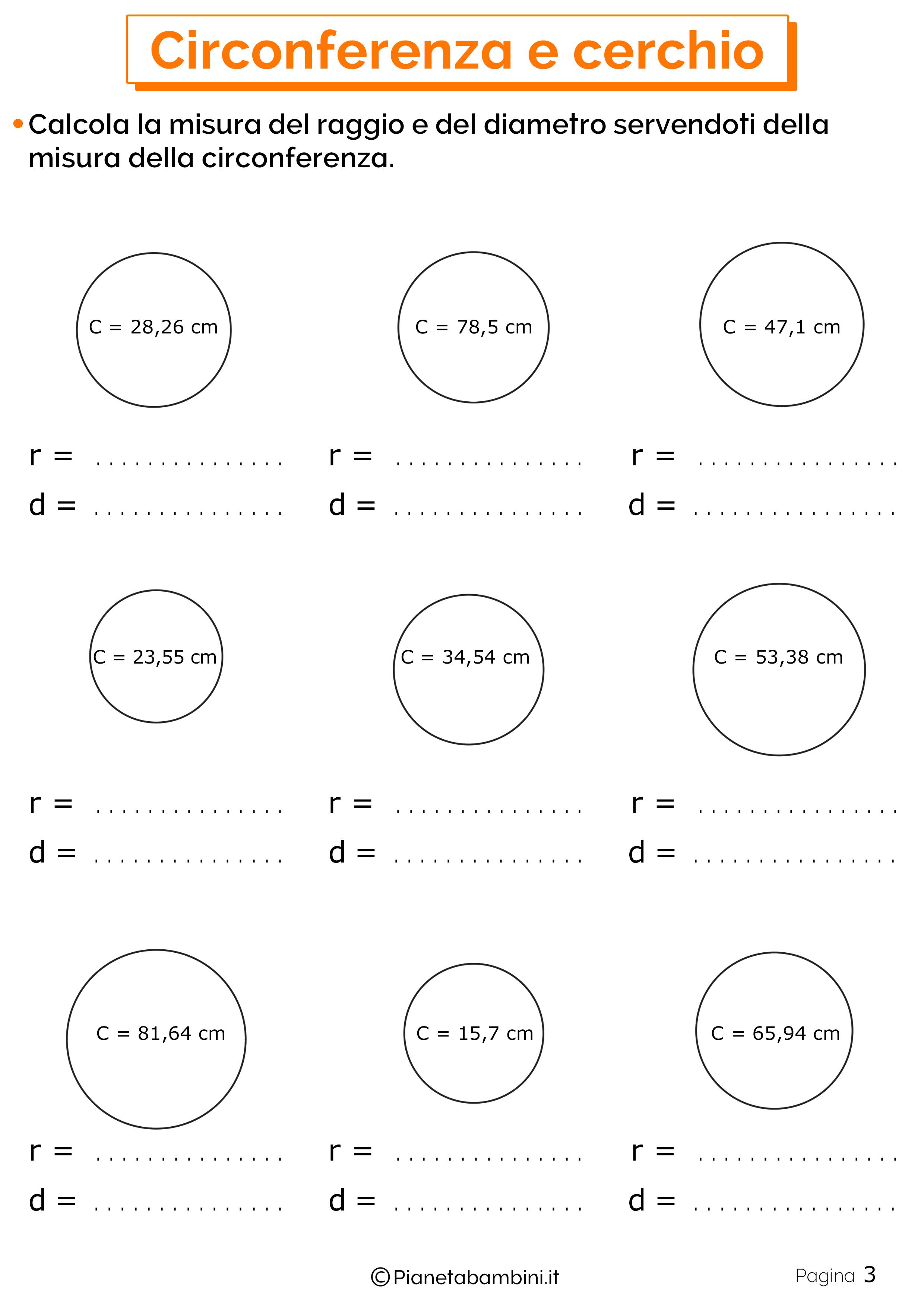 Schede didattiche su circonferenza e cerchio 3