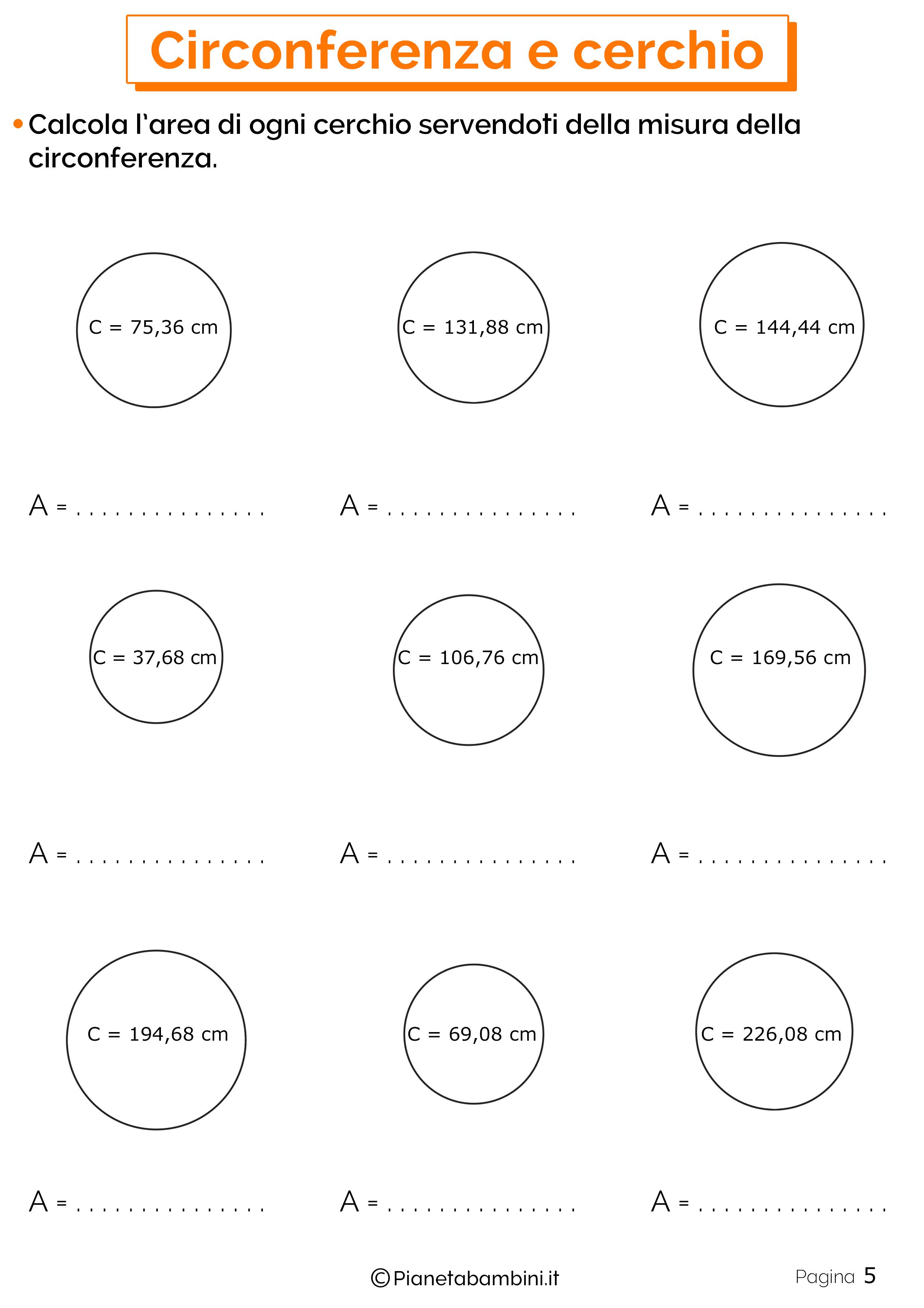 Schede didattiche su circonferenza e cerchio 5
