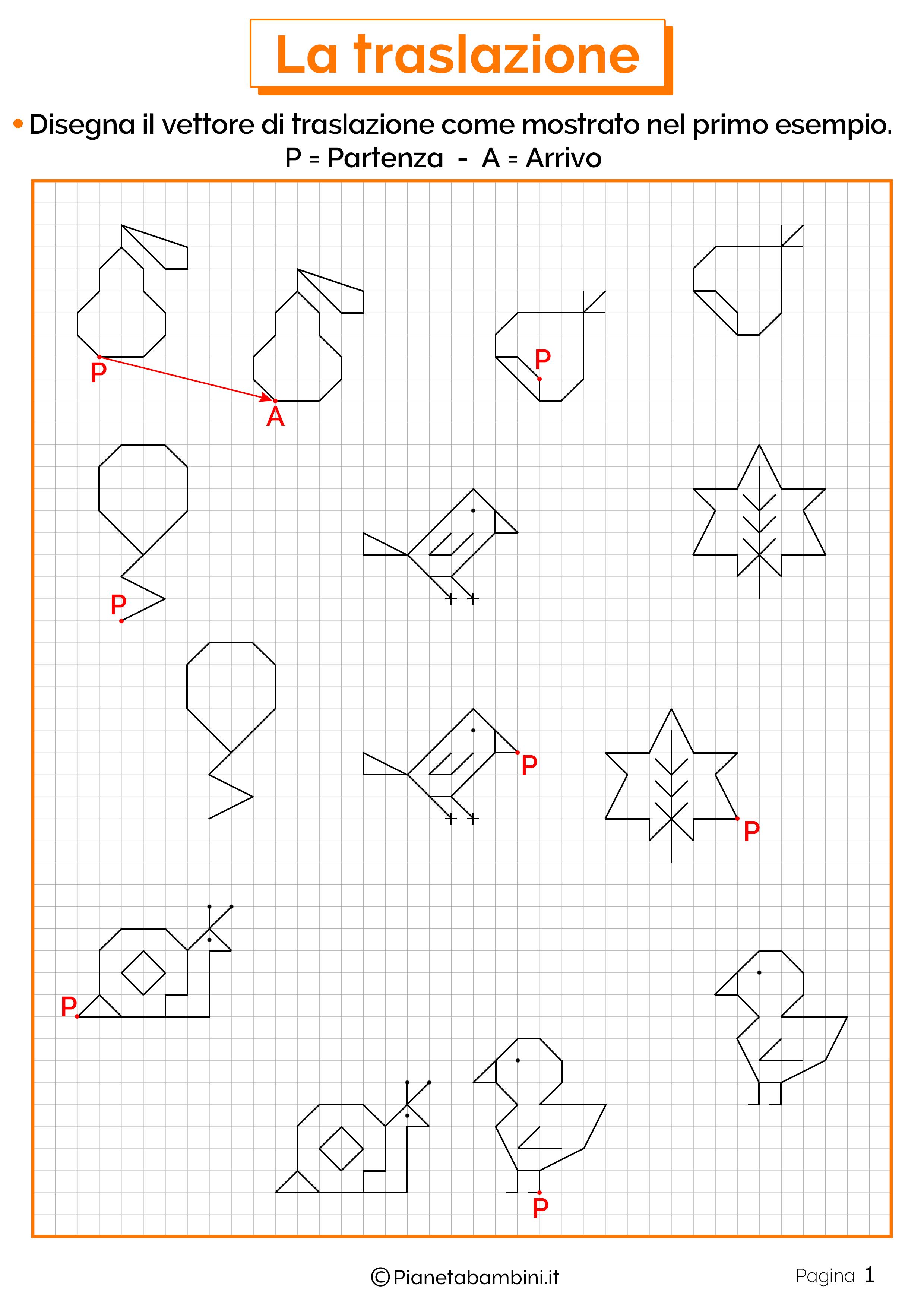 Schede didattiche sulla traslazione 1Esercizi sulla traslazione 1