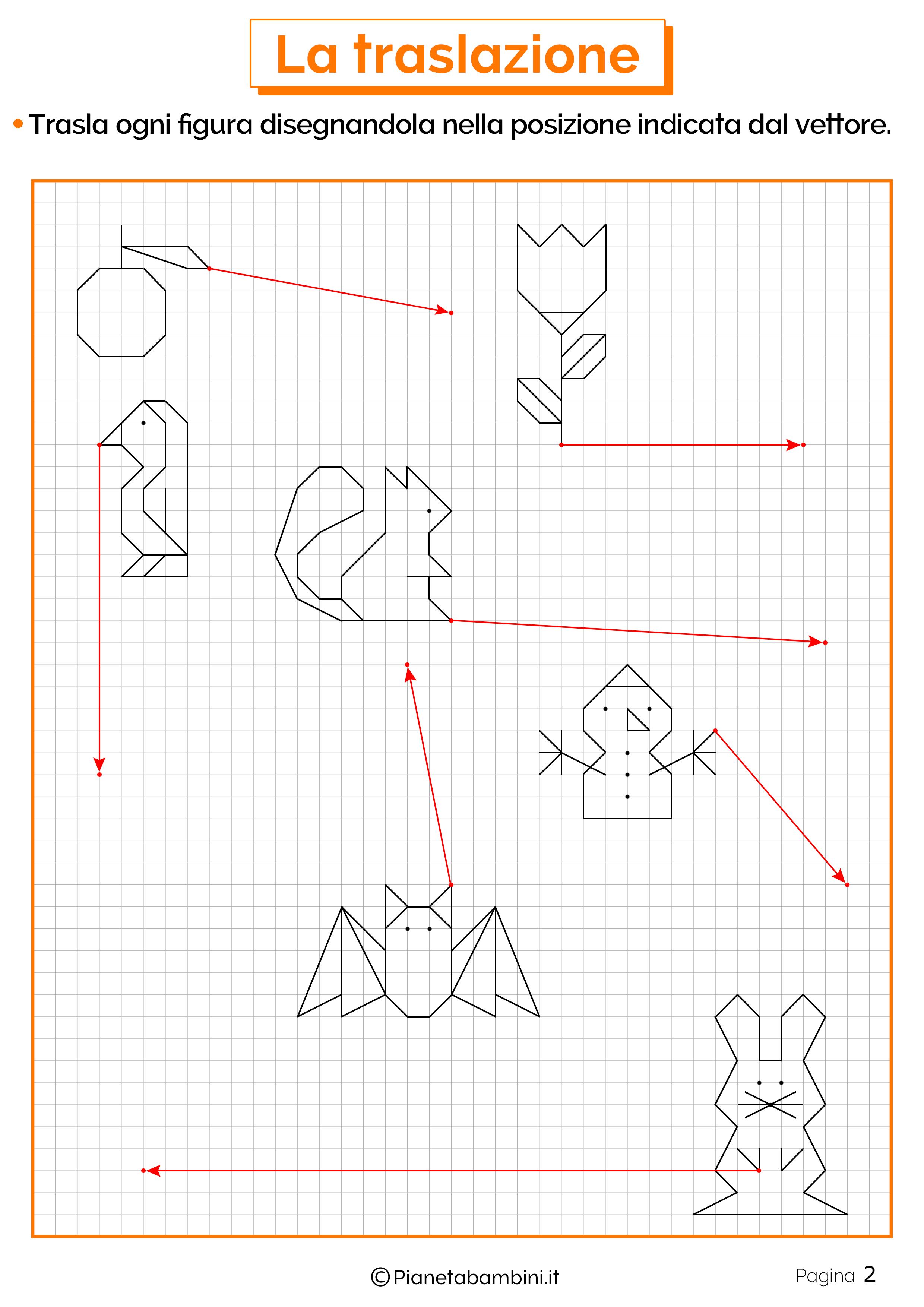 Schede didattiche sulla traslazione 1Esercizi sulla traslazione 2